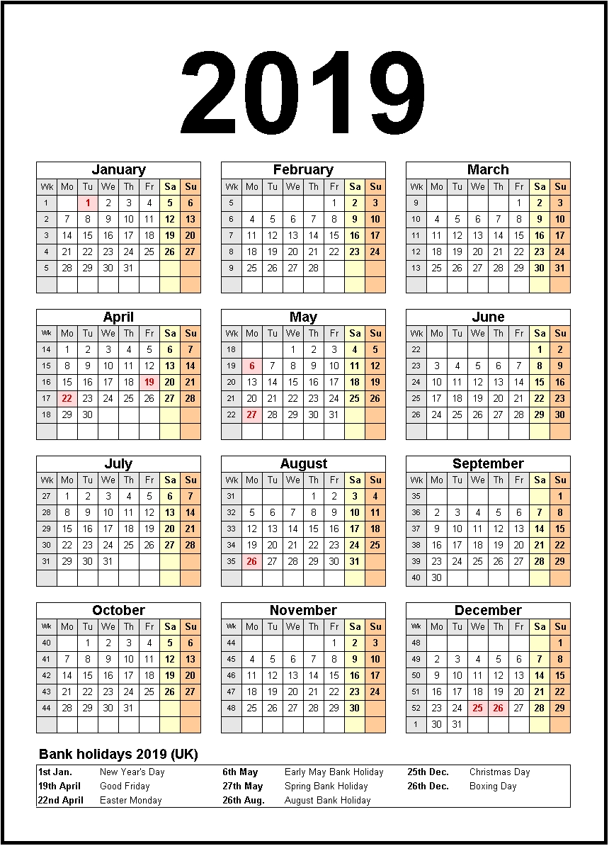 Printable 2019 Calendar With Holidays #2019Calendar #2019Holidays pertaining to 1 Page Calendar 2019-2020 With Major Holidays