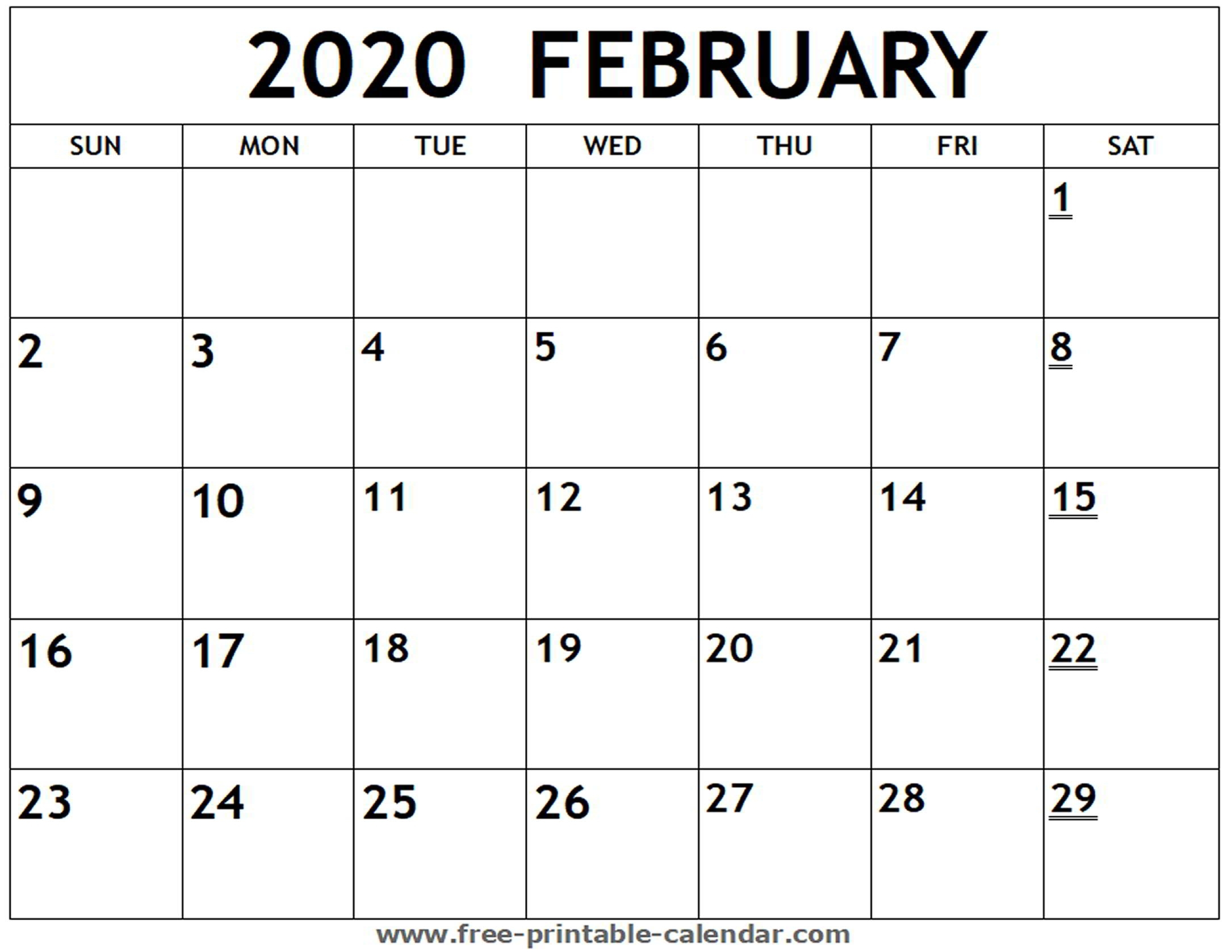 Printable 2020 February Calendar - Free-Printable-Calendar in Printable 2020 Calendar I Can Edit