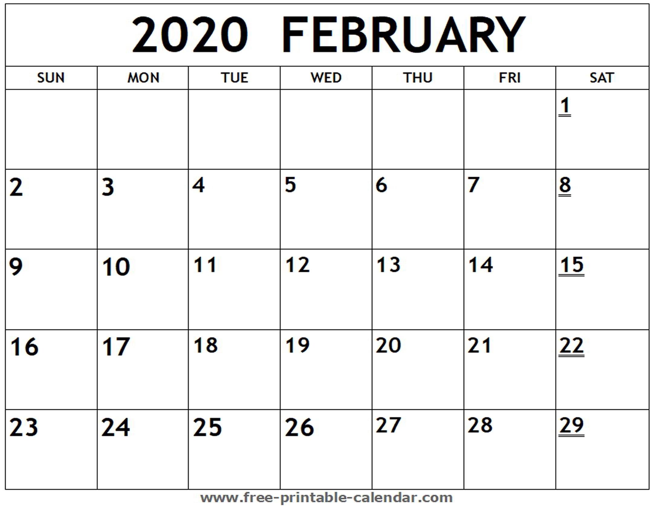 Printable 2020 February Calendar - Free-Printable-Calendar with Free Printable 2020 Calendar To I Can Edit