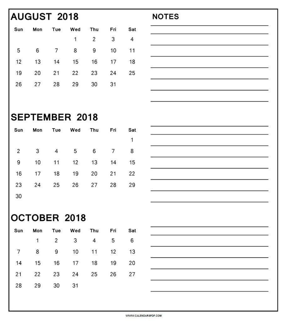 Printable 3 Month Calendar August September October 2018 | Printable intended for 3 Month Calendar Printable With Notes September October November