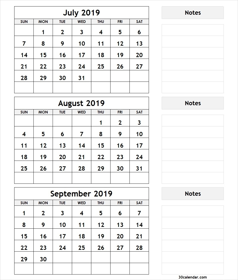 Printable 3 Month Calendar July August September 2018 | Printable inside Printable 3 Month Calendar Template