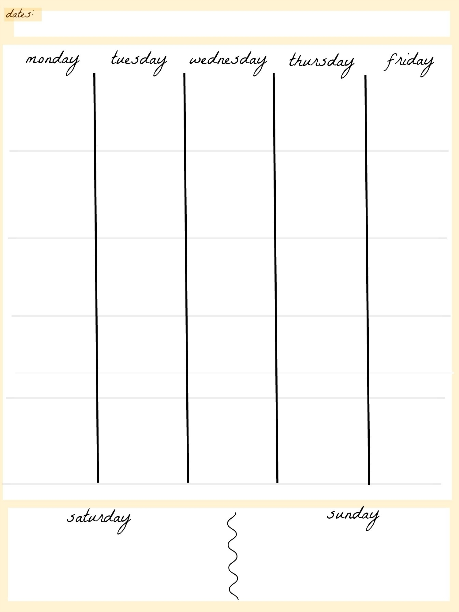 Printable 5 Day Working Week Calendar | Template Calendar Printable in Free Printable 5 Day Calendar