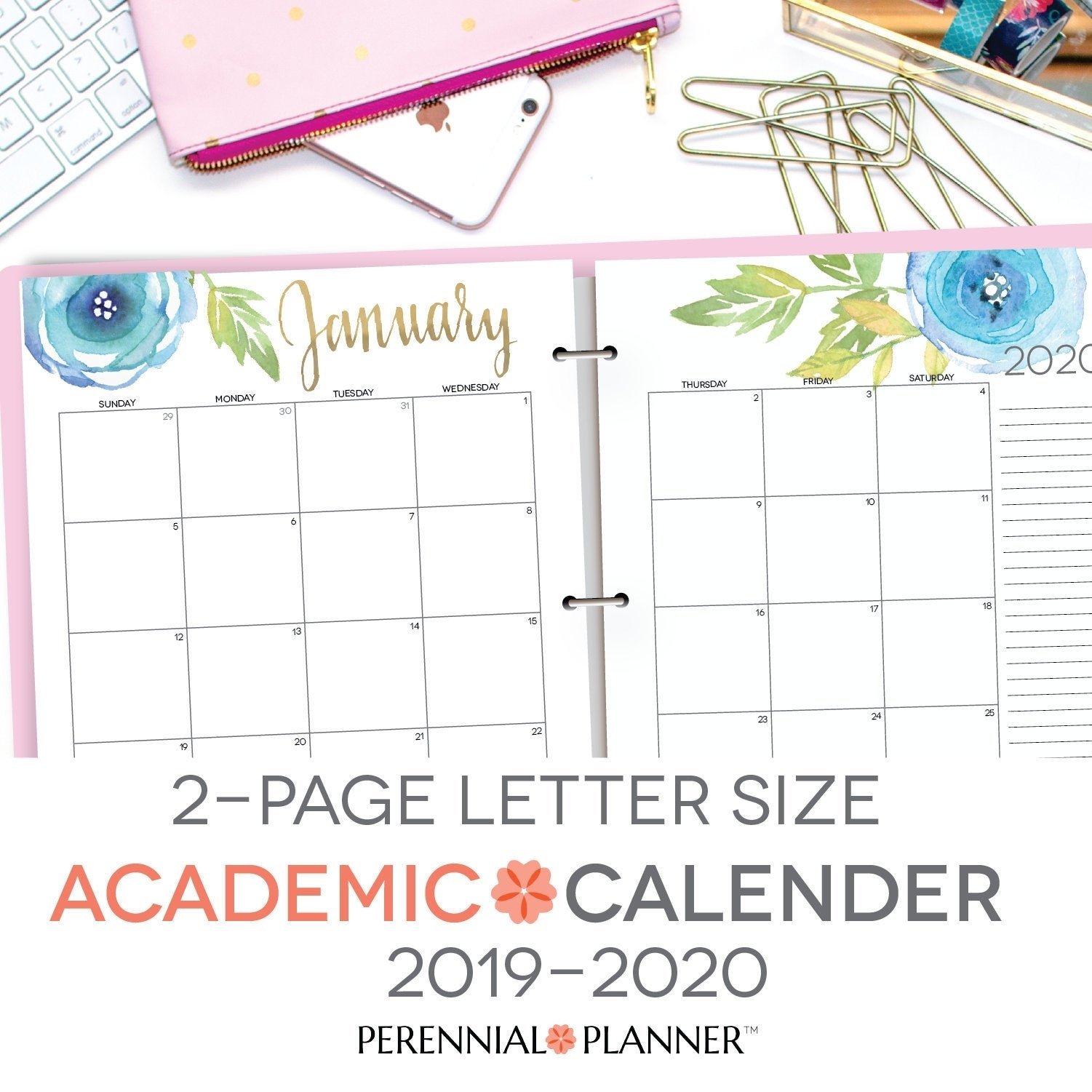 Printable Academic Calendar 2019-2020 Two Page Spread | Etsy intended for 2019- 2020 Academic Calendar Printable Empty Boxes