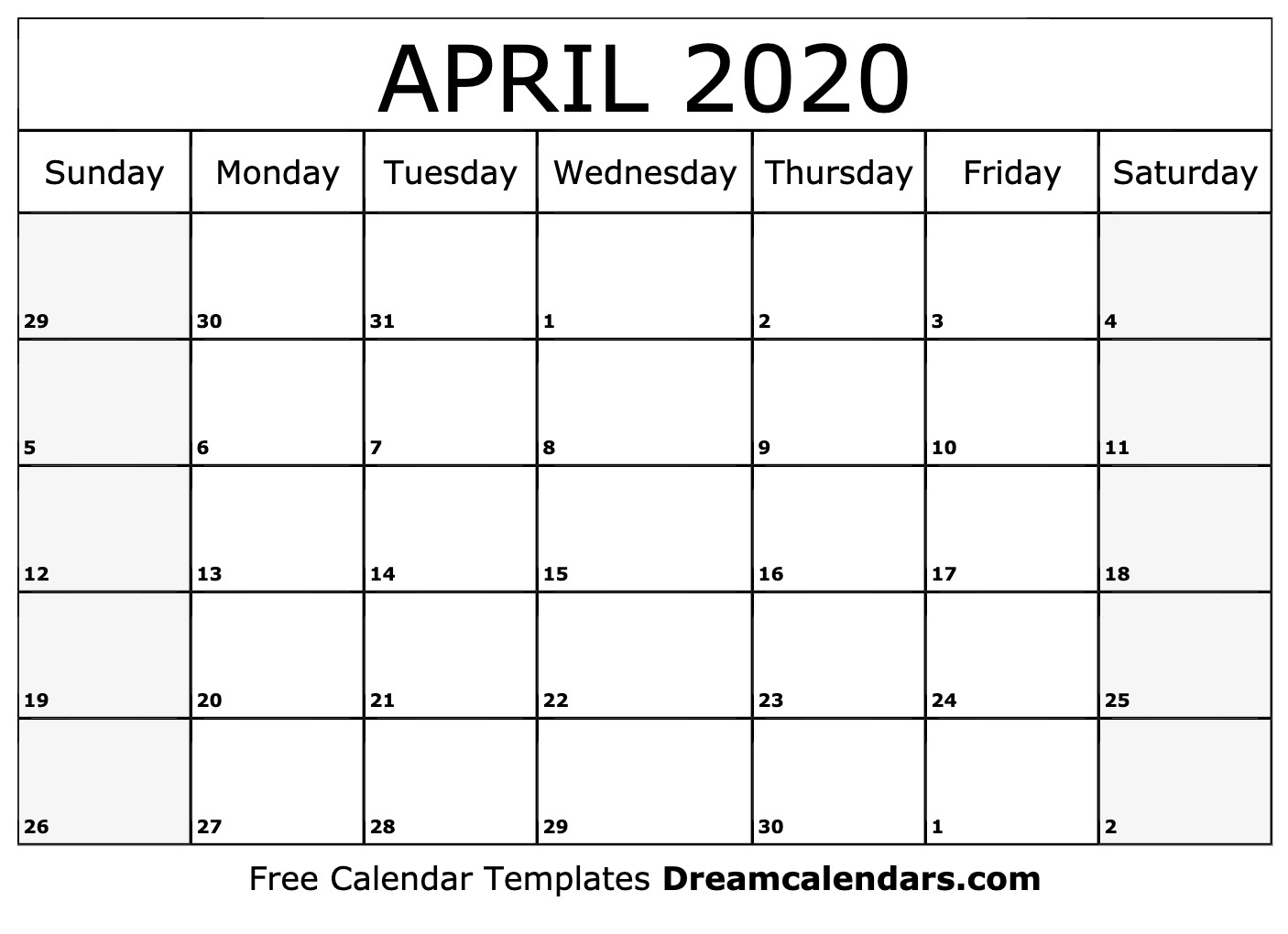 Printable April 2020 Calendar in 2020 Printable Calendar By Month