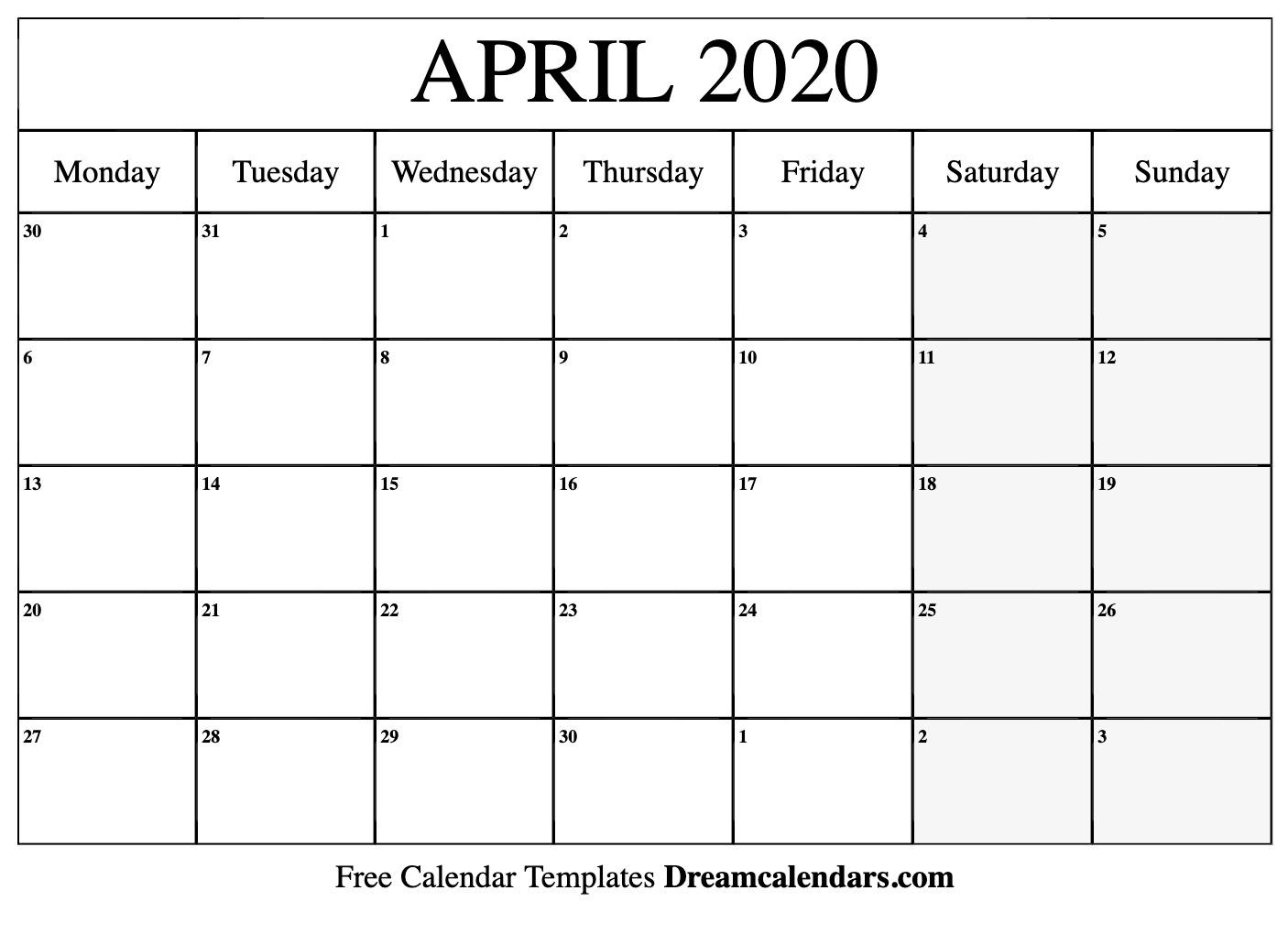 Printable April 2020 Calendar pertaining to 2020 Printable Calendar Free That Start With Monday