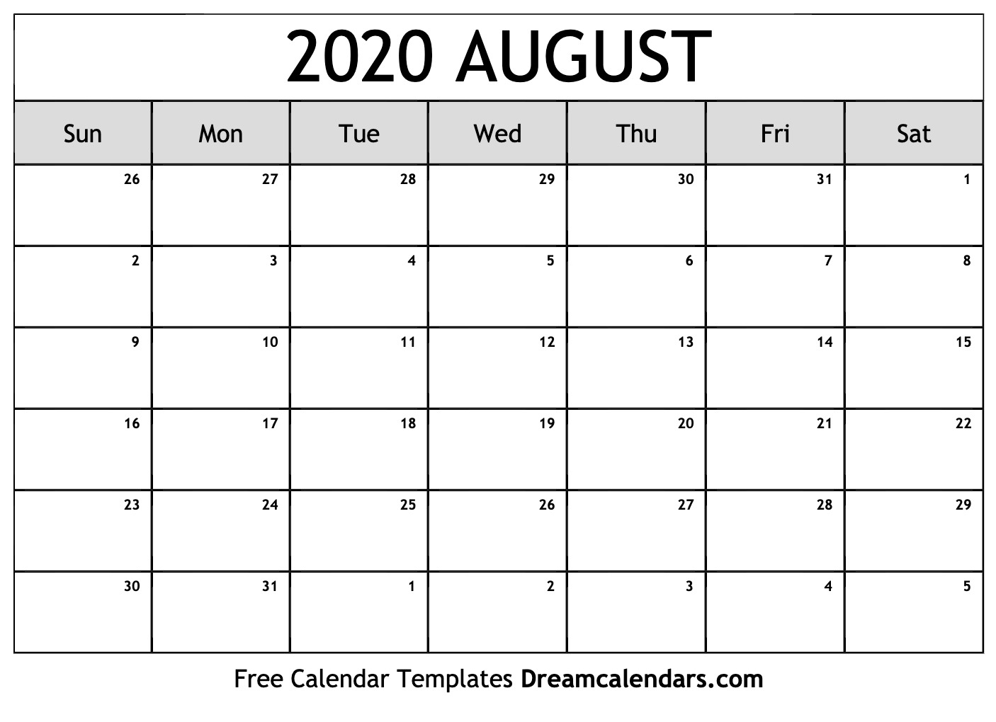 Printable August 2020 Calendar within June July August 2020 Calendar