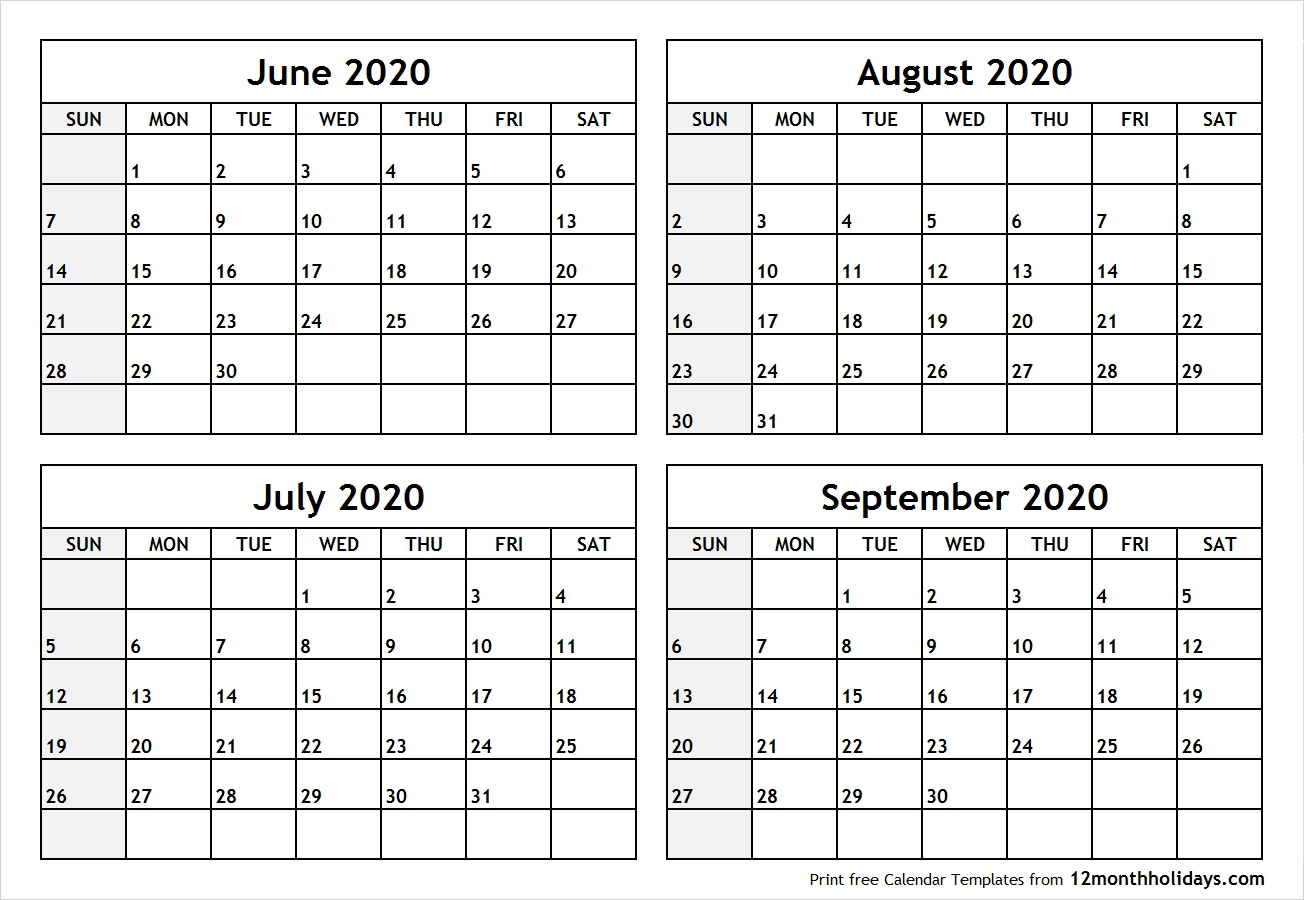 Printable Blank Four Month June July August September 2020 Calendar with regard to June July August 2020 Calendar