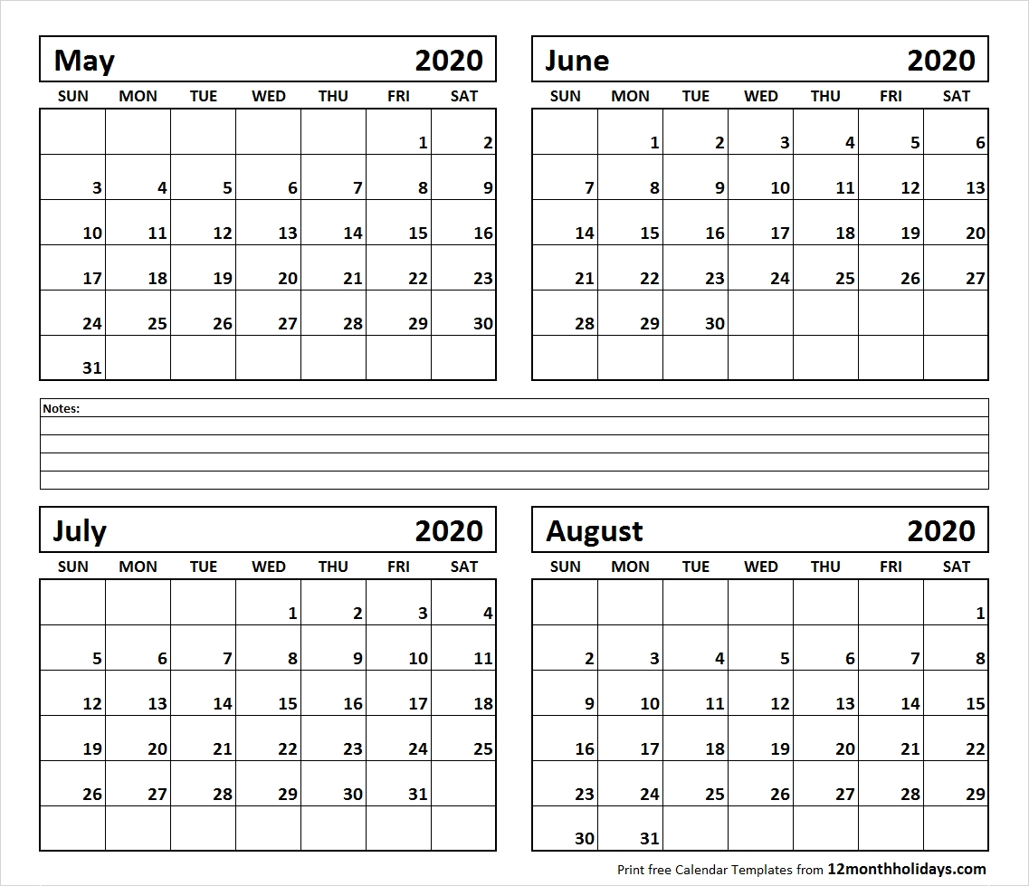 Printable Blank Four Month May June July August 2020 Calendar Template with regard to June July August 2020 Calendar