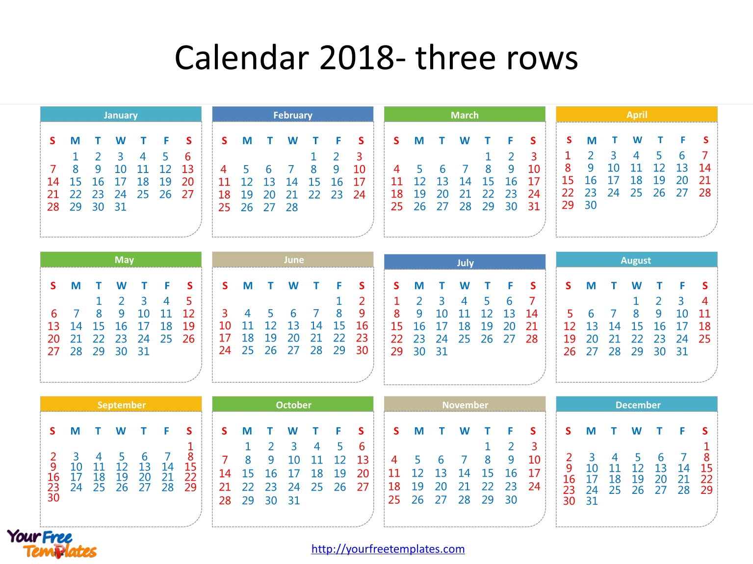 Printable Calendar 2018 - Free Powerpoint Templates pertaining to Printable Date To Date Calendar