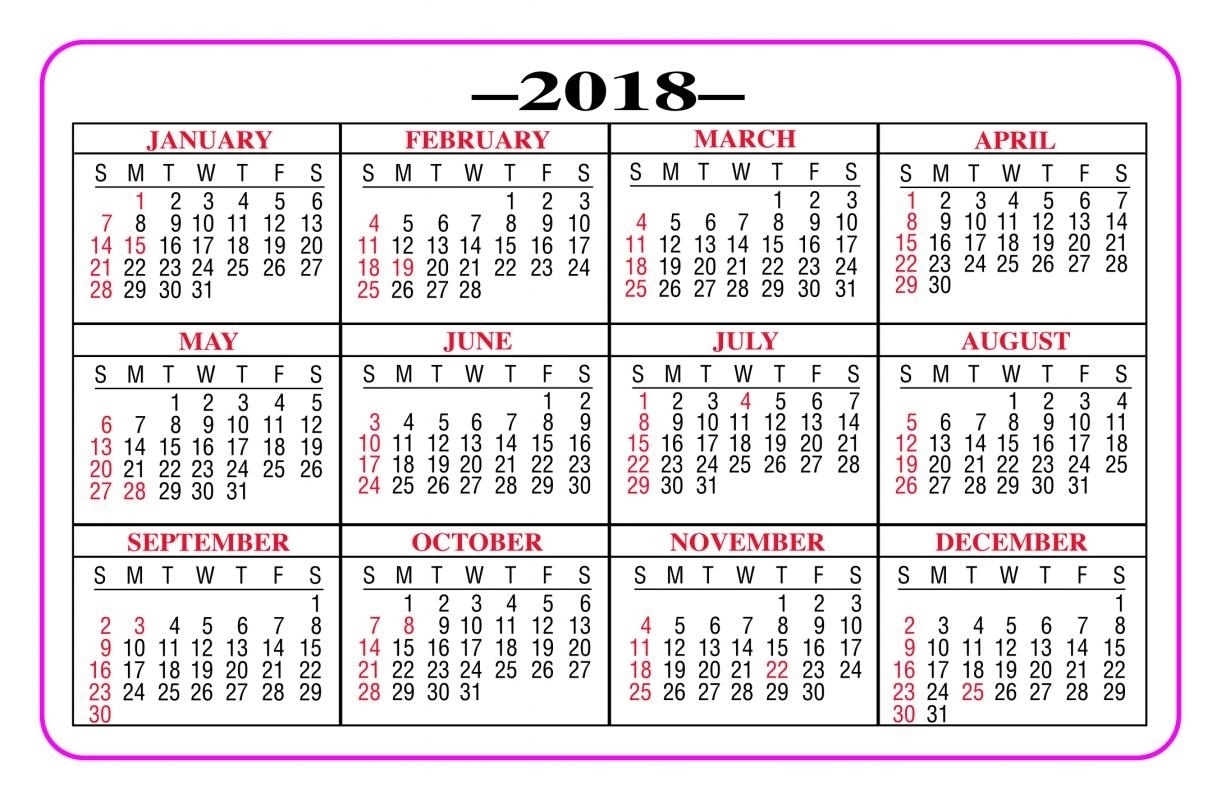 Printable Calendar 2018 Pocket | Printable Calendar 2019 regarding Free Printable Pocket Size Calendars