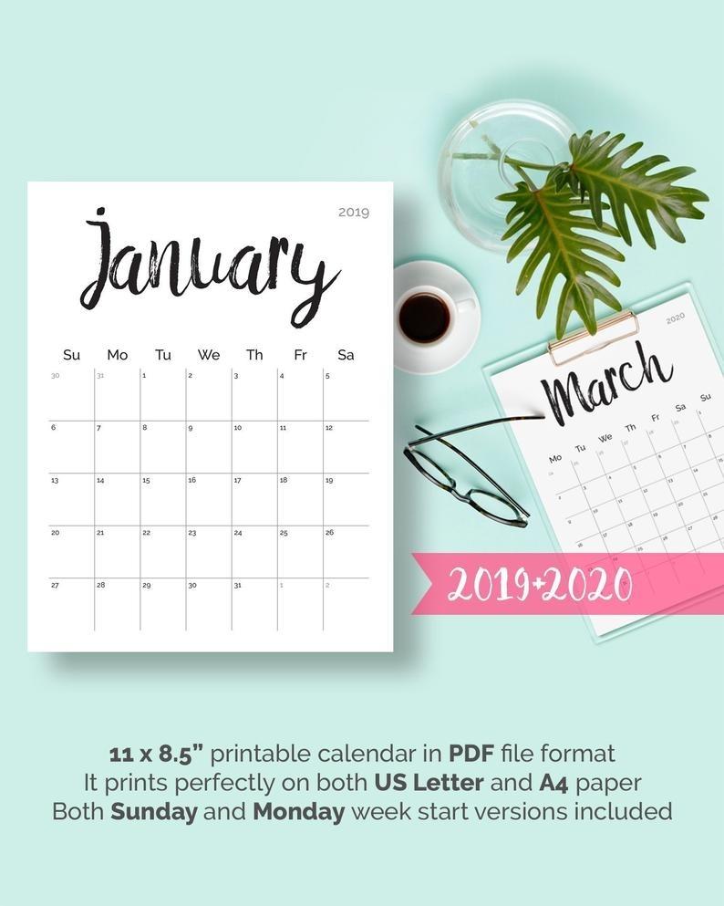 Printable Calendar 2019 2020 2018 Desk Calendar Pdf Download | Etsy inside 2020 Wall Calendar Kikki K