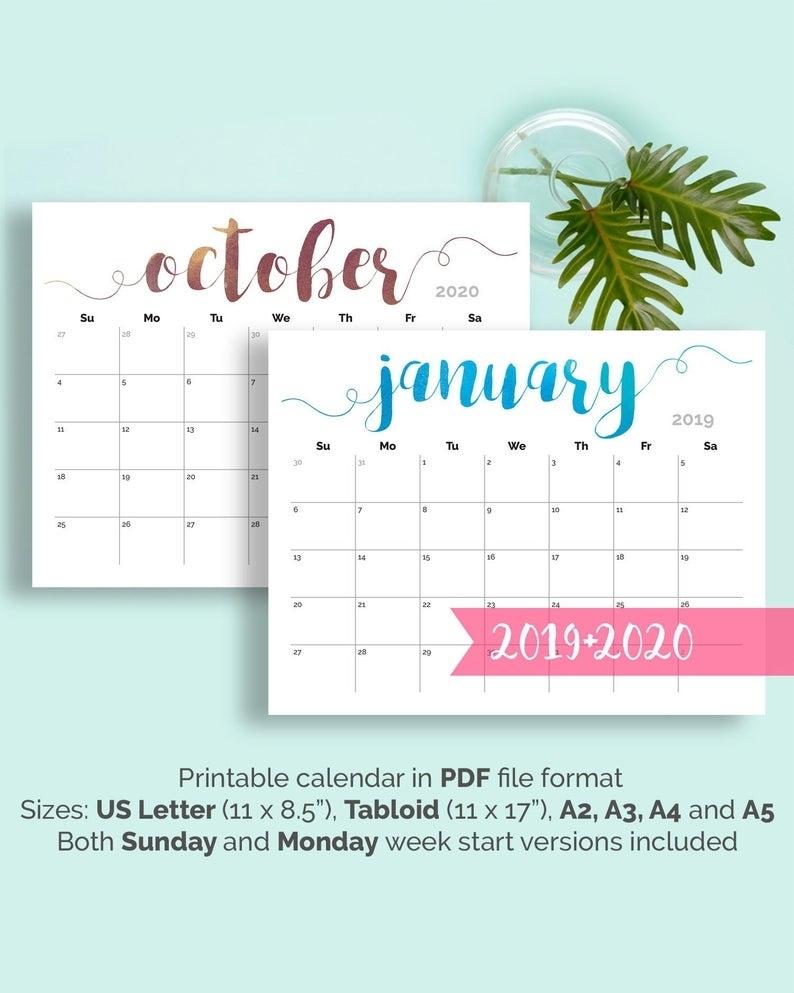 "Printable Calendar 2019 Large Wall Calendar 2019-2020 Desk | Etsy throughout 11"" X 8.5"" Calendar Pages 2020 Free"