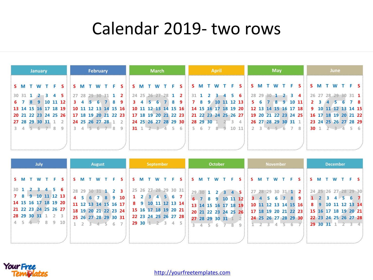 Printable Calendar 2019 Template - Free Powerpoint Templates intended for Printable Date To Date Calendar