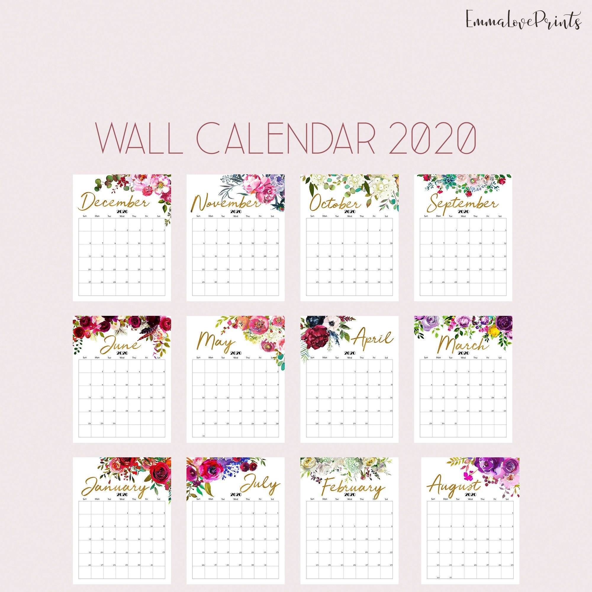 Printable Calendar 2020 Wall Calendar 2020 Desk Calendar, Floral for Homeschool Year At A Glance 2019-2020 Botanical Calendar Printable Free