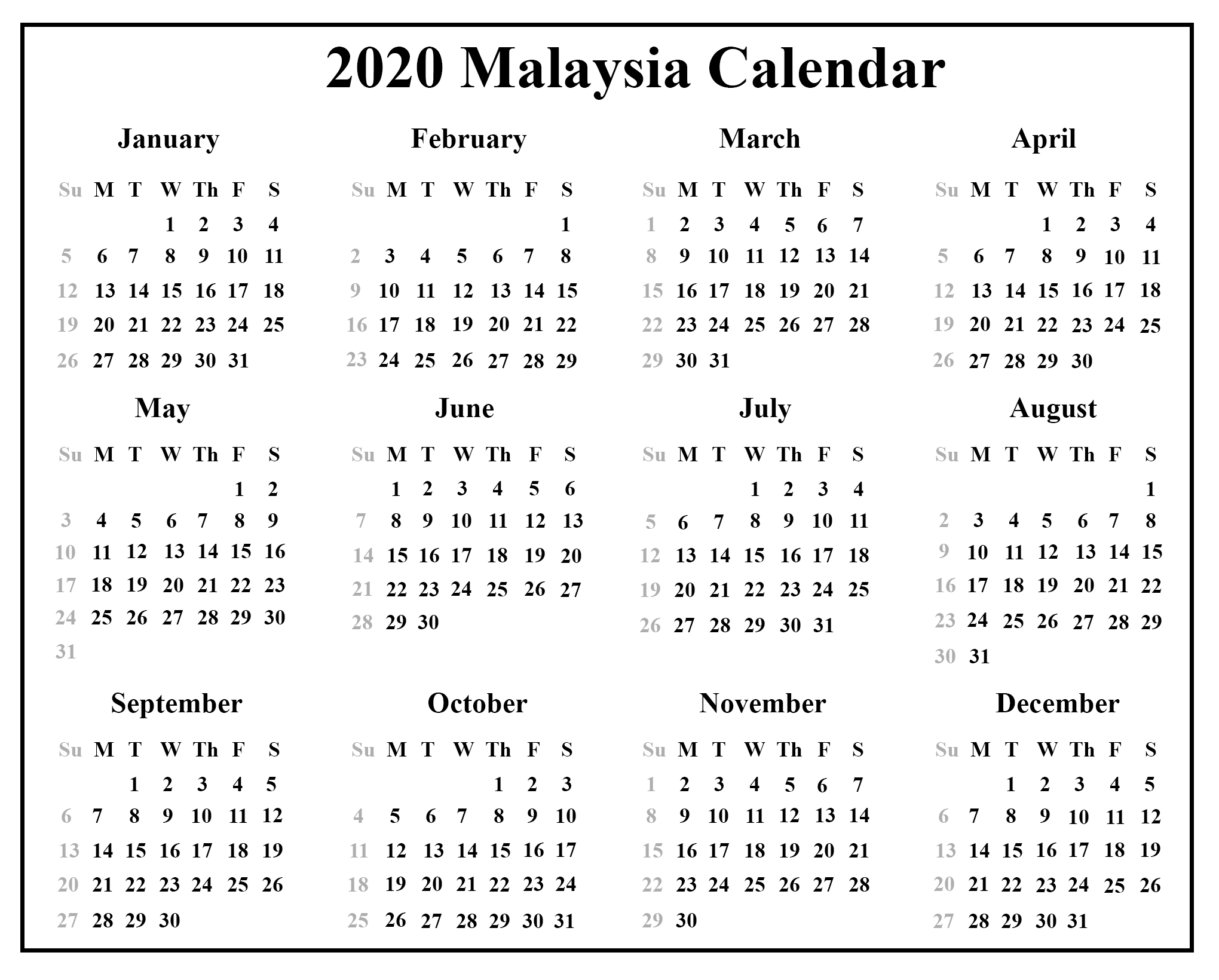 Printable Free Download Malaysia Calendar 2020 [Pdf, Excel & Word regarding Malaysia 2020 Calendar