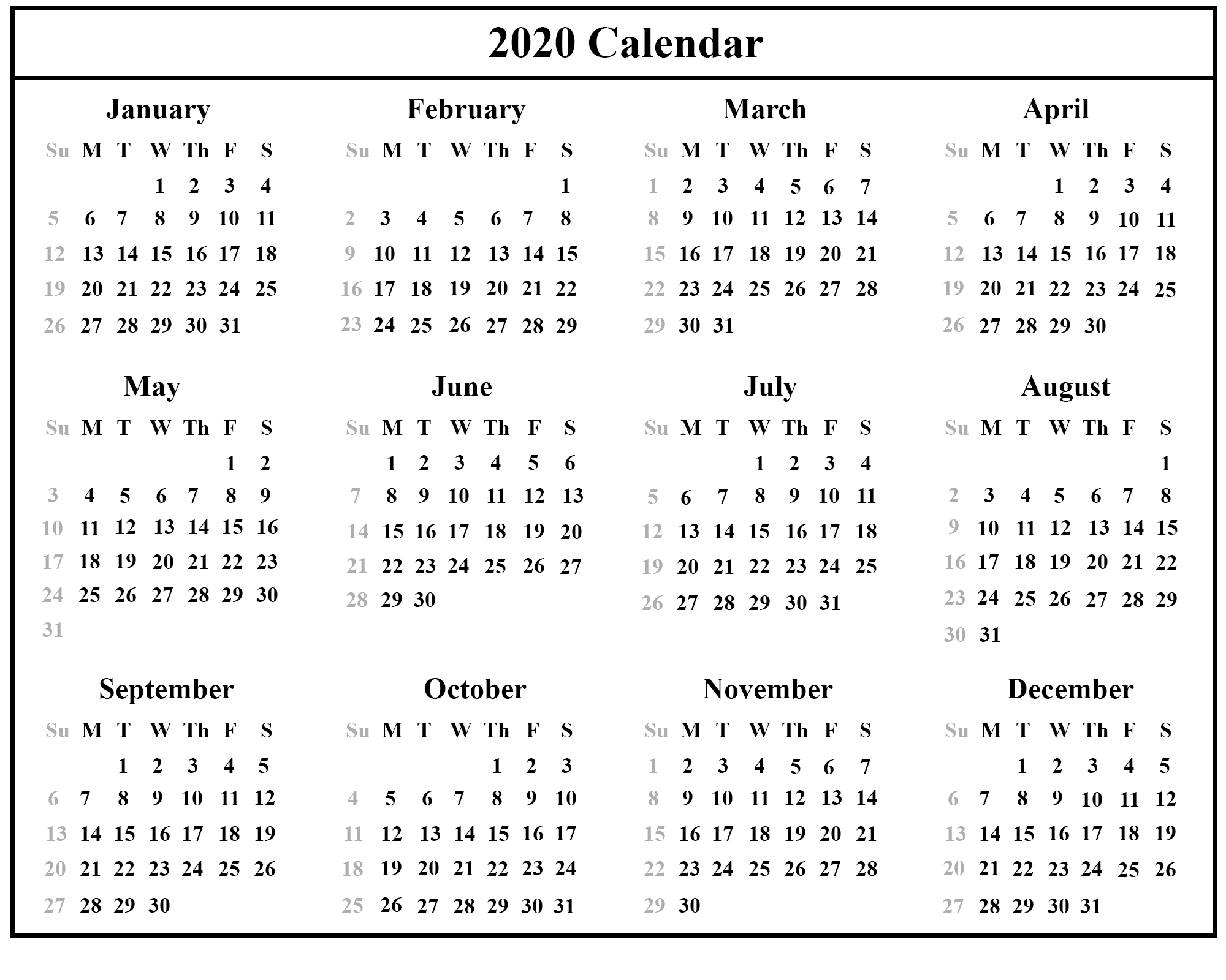 Printable Free Download Singapore Calendar 2020 [Pdf, Excel & Word within Year-Long Calendar 2020 Printable