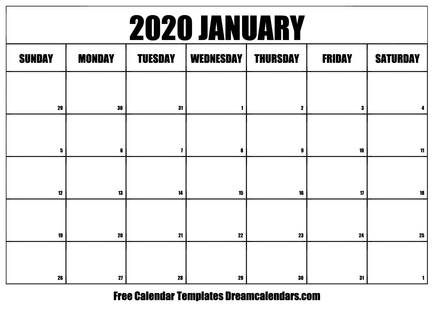 Printable January 2020 Calendar with regard to Calender 2020 Template Monday To Sunday