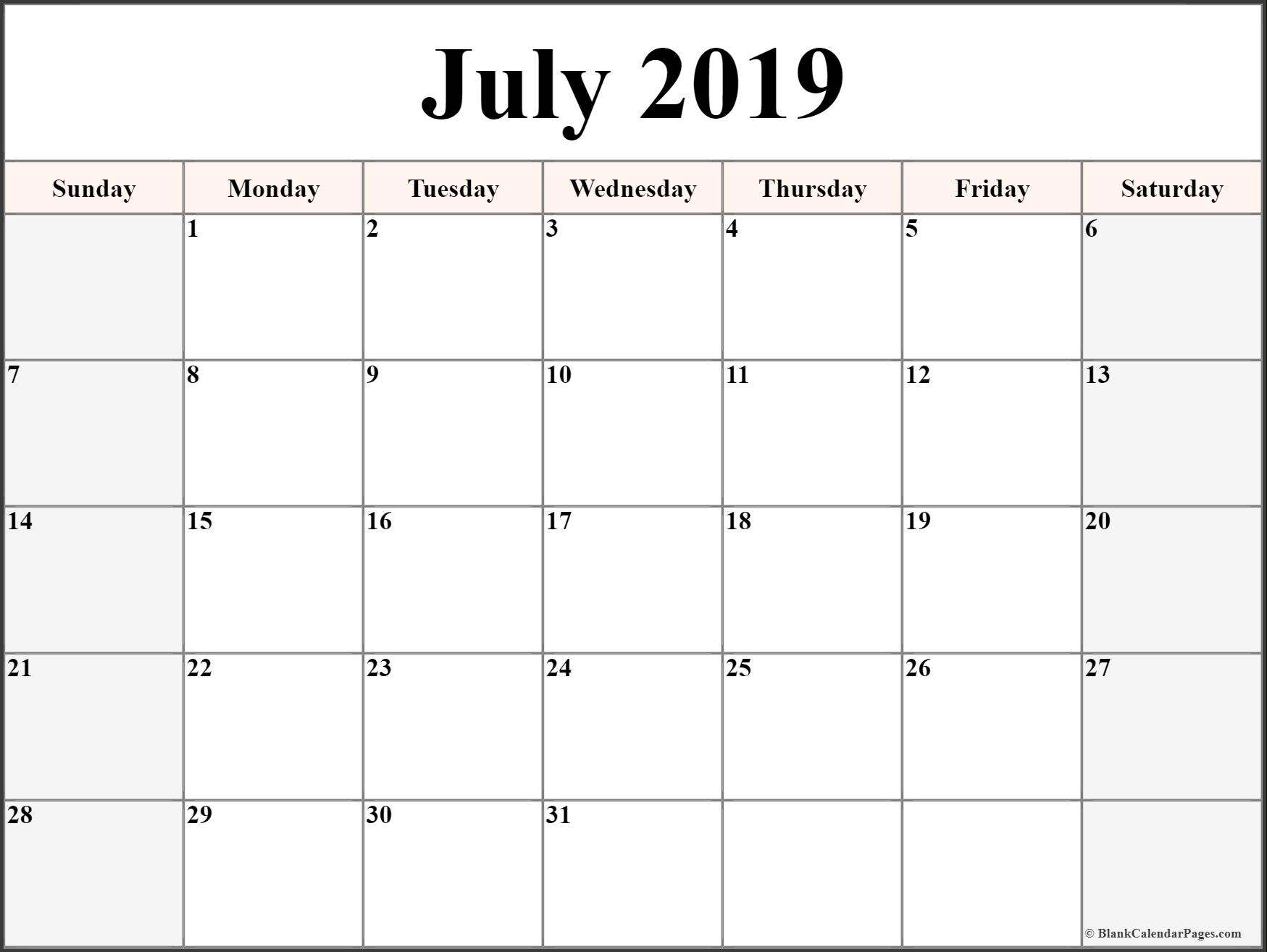 Printable July 2019 Calendar Date » Creative Calendar Ideas pertaining to Free 8/2019 -5/ 2020 Printable Calendar