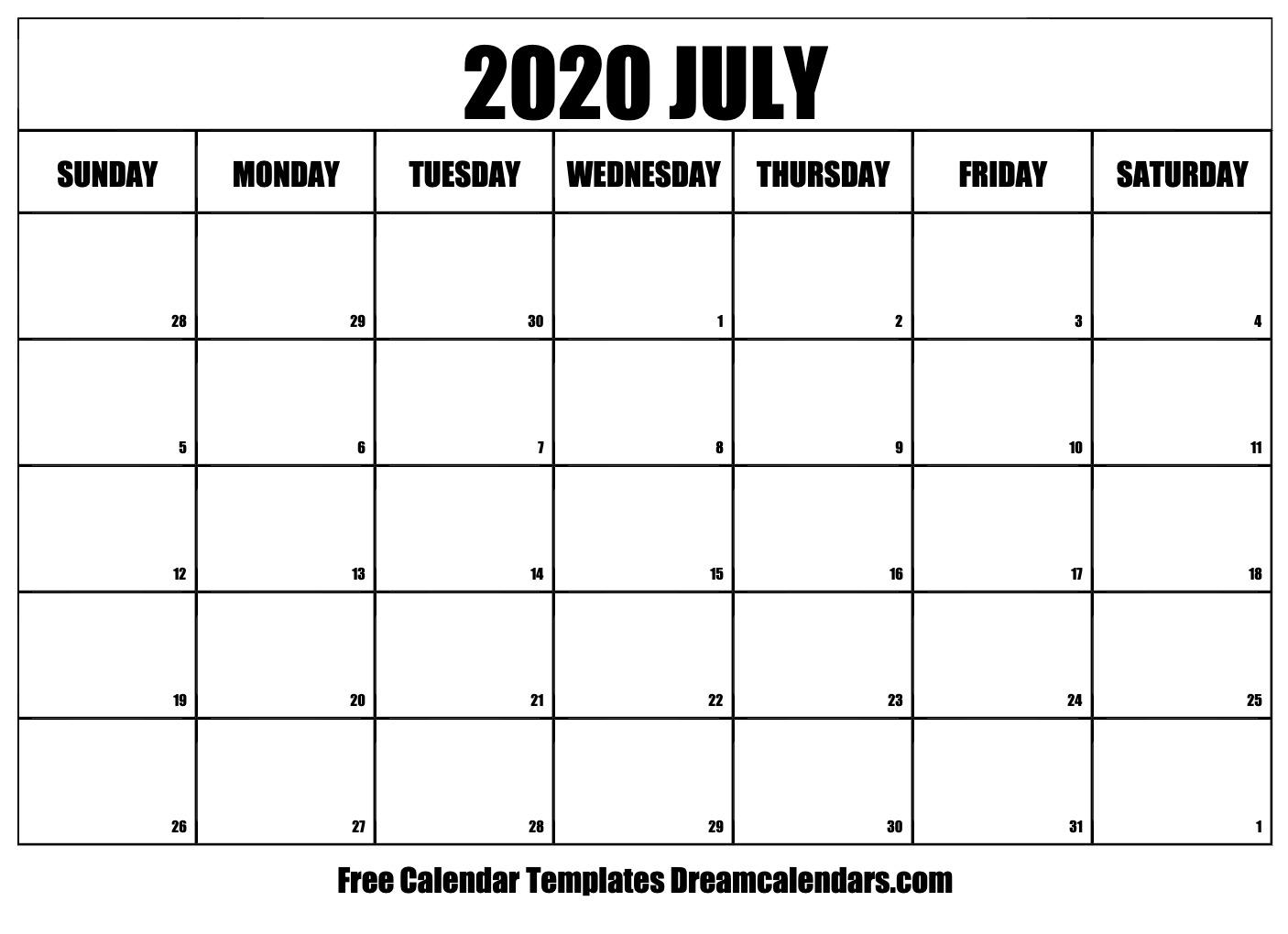 Printable July 2020 Calendar throughout July 2019 - July 2020 Calendar Printable Free
