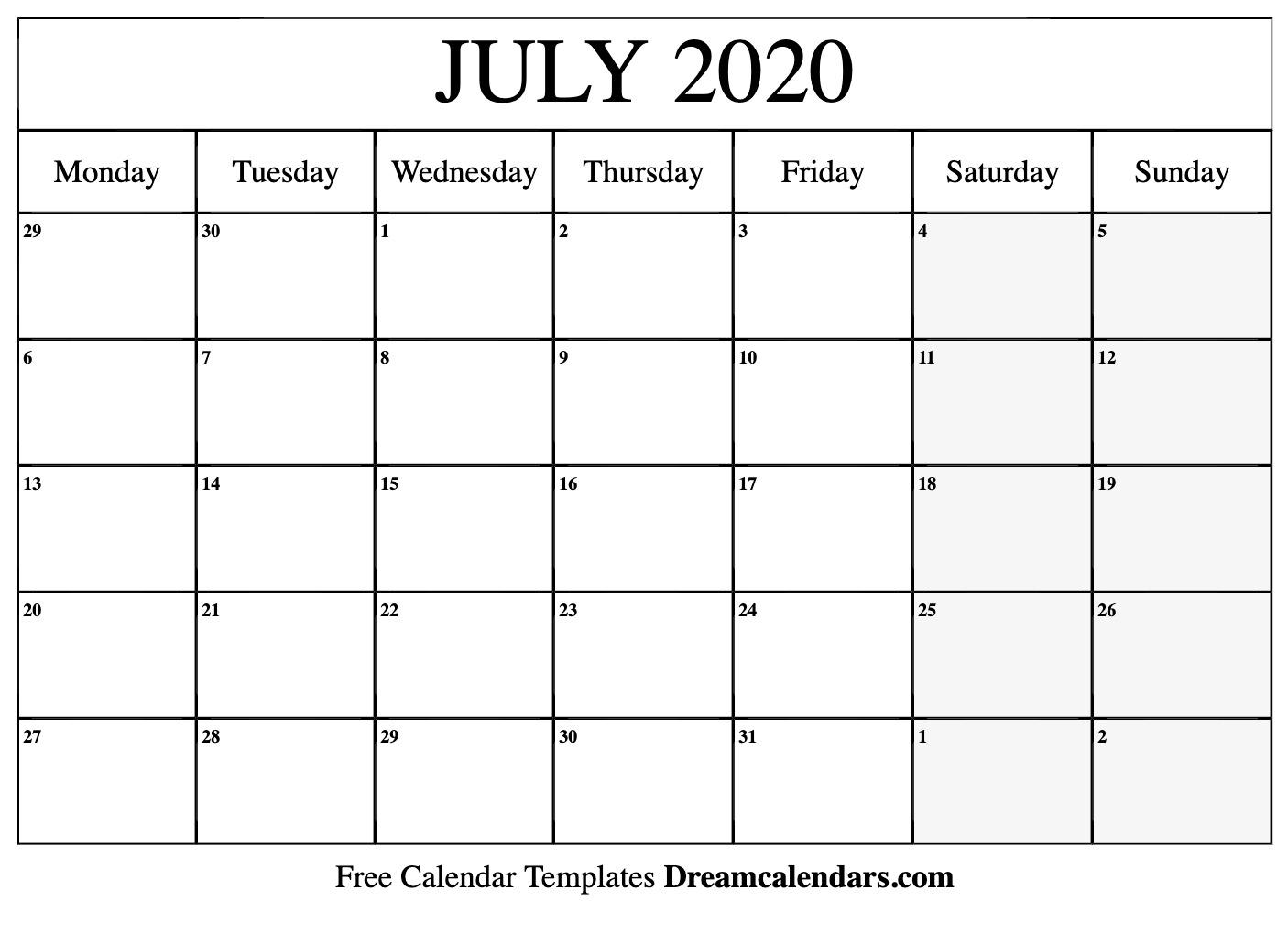 Printable July 2020 Calendar within Printable 2020 Calendar I Can Edit