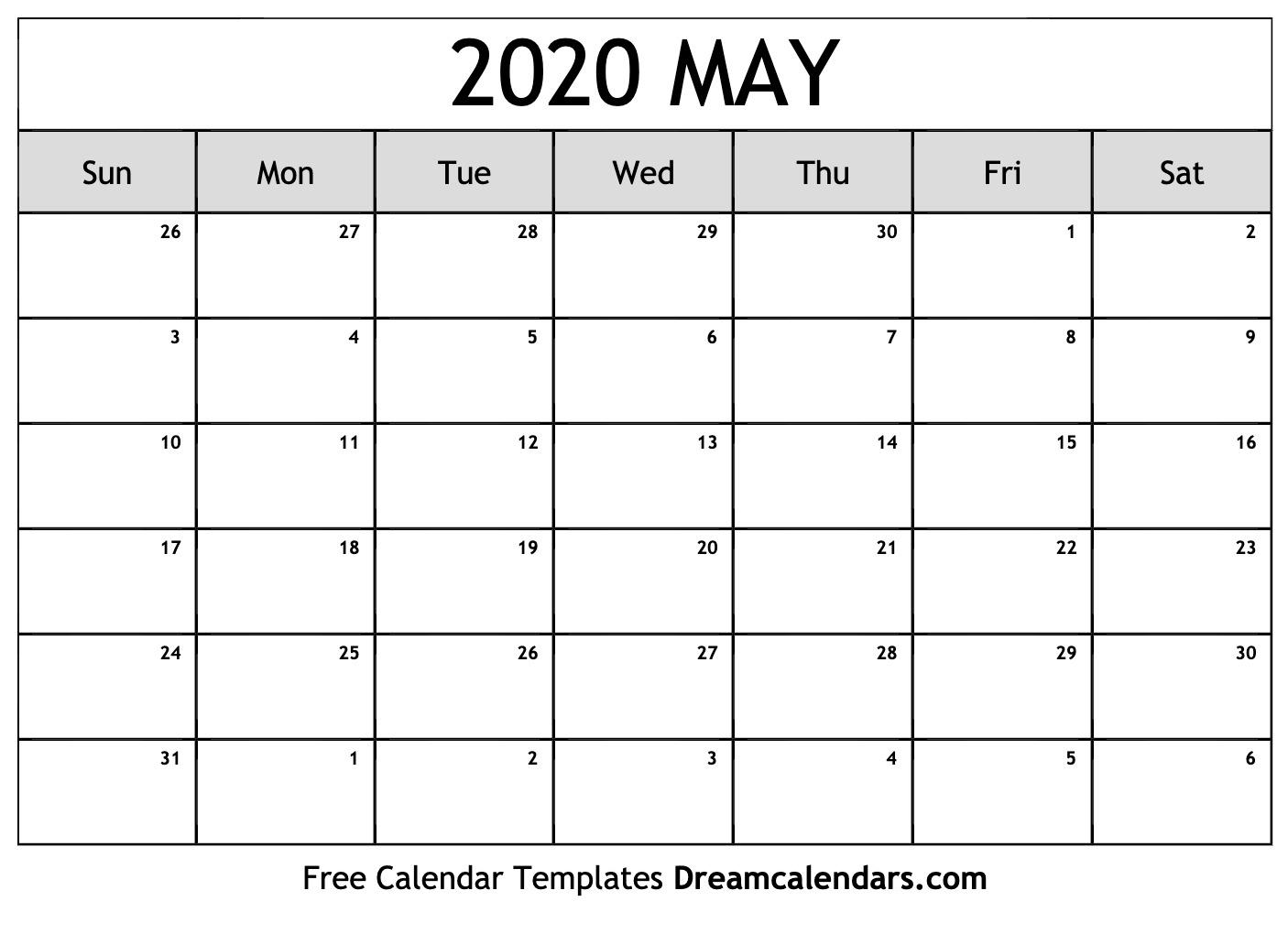 Printable May 2020 Calendar within Printable 2020 Calendar
