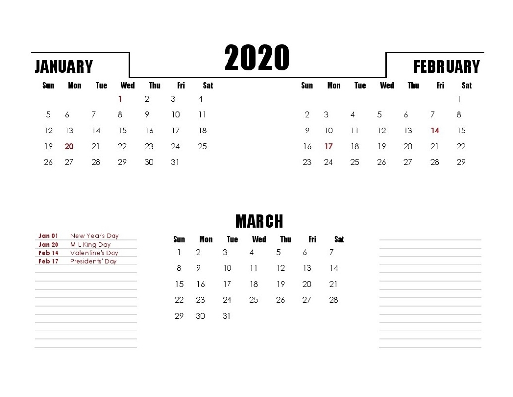 Printable Quarterly Calendar 2020 1St Quarter With Notes | Calendar regarding 2020 Quarterly Calendar Printable Free