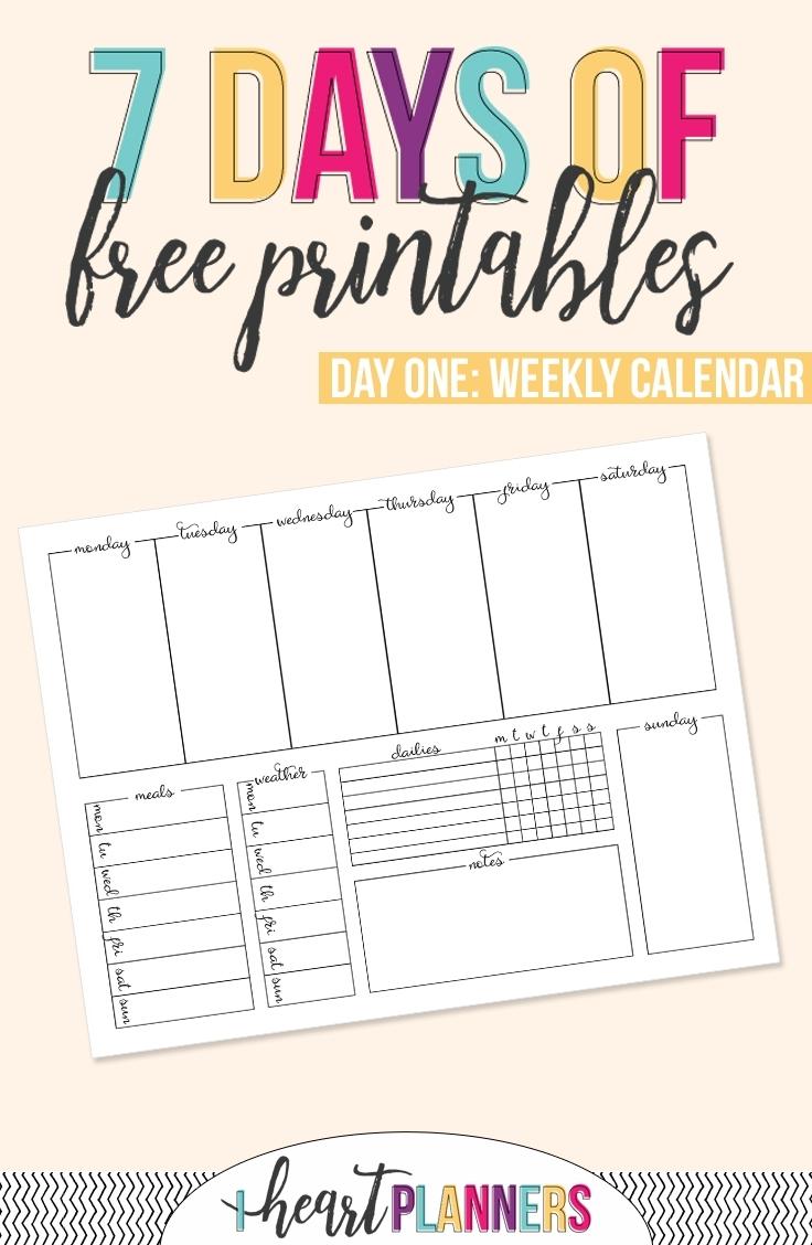 Printable Weekly Calendar - I Heart Planners pertaining to Printable Seven Day Calendar Print Out