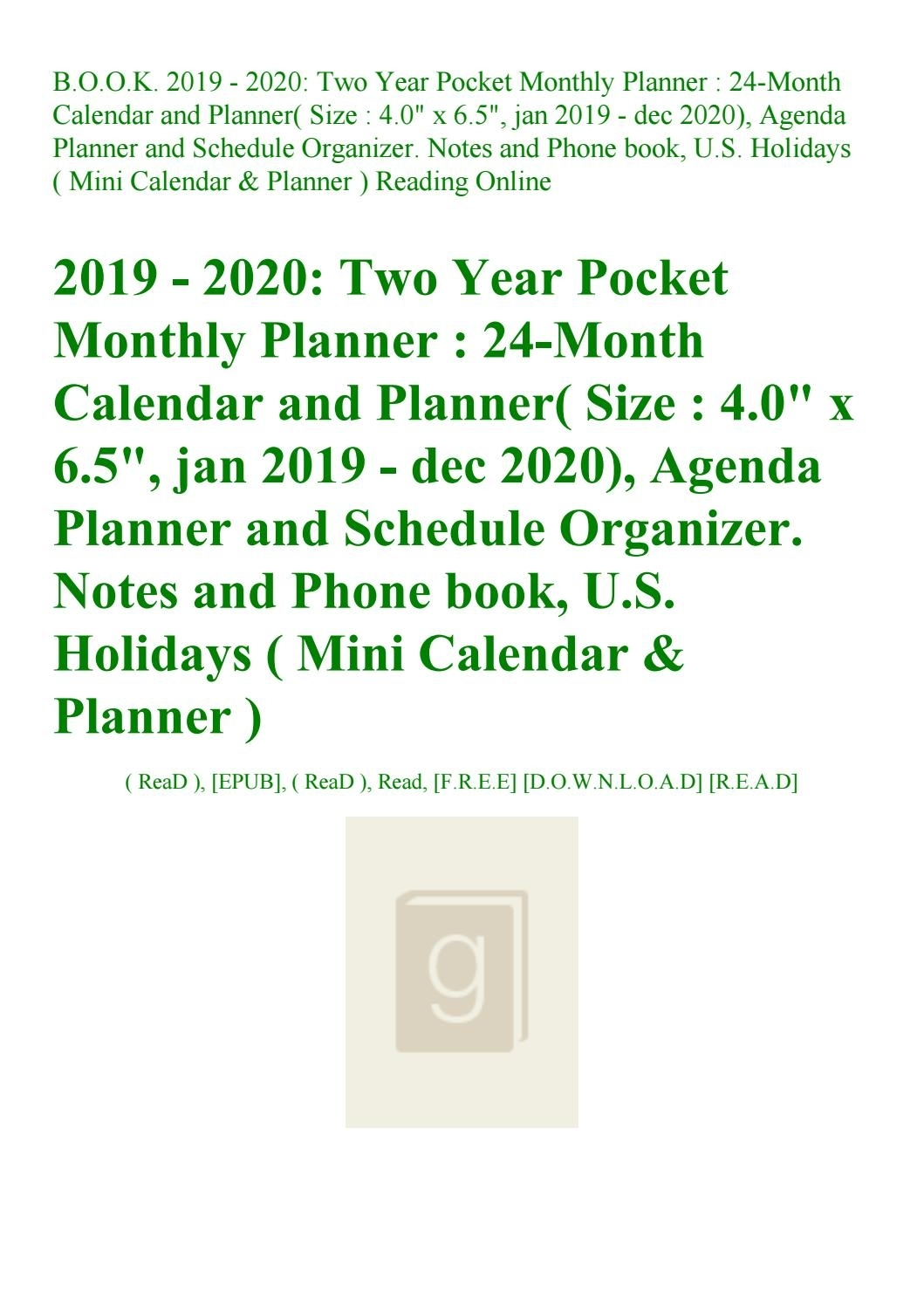Read B.o.o.k. 2019 - 2020 Two Year Pocket Monthly Planner 24-Month with U Of R 2020 Calendar