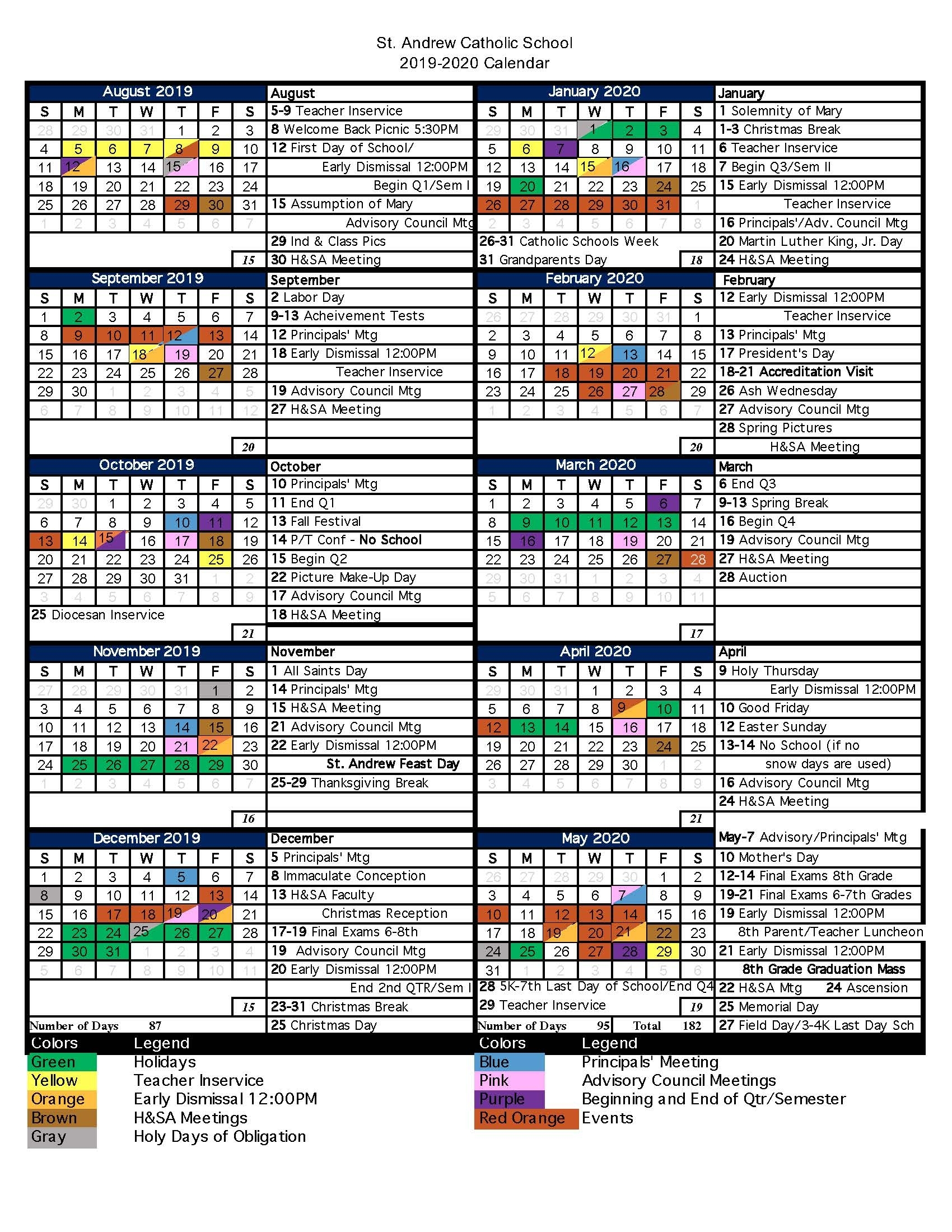 Saint Andrew Catholic School |Christ-Centered Community Working In with regard to Stephen F Austin 2019 2020 Calendar