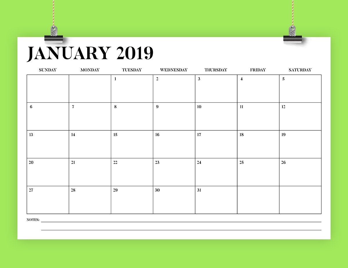 Sale 11 X 17 Inch 2019 Calendar Template Instant Download | Etsy intended for Printable Calendar Monthly 2019-2020 Free 11X17 Large Boxes