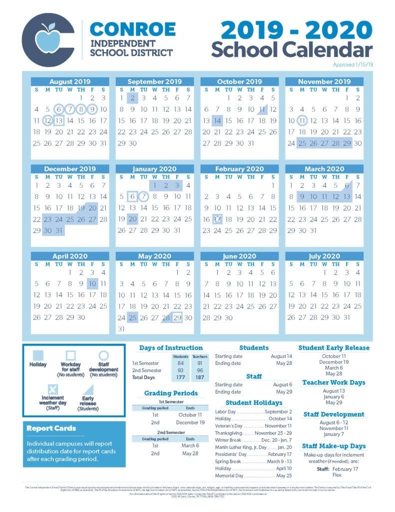 School Calendar Process - Conroe Isd pertaining to Calendar To Type On 2019 - 2020