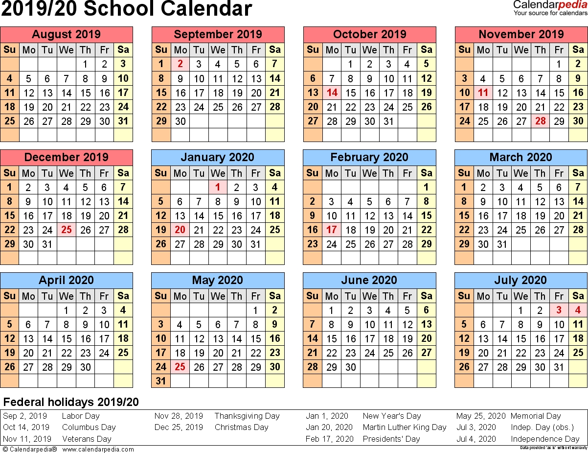 School Calendars 2019/2020 As Free Printable Pdf Templates intended for Year At A Glance Calendar 2020 Free Printable