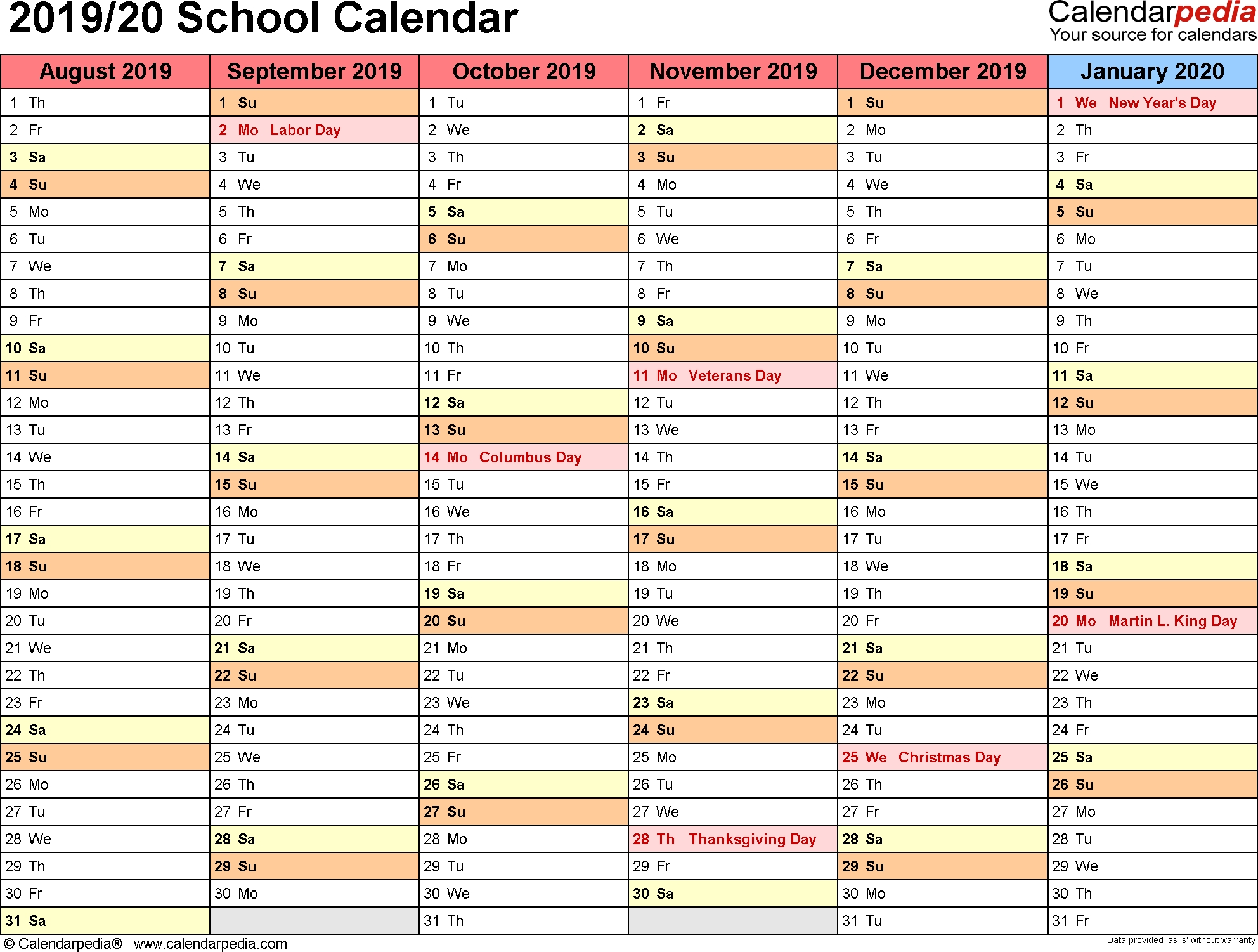School Calendars 2019/2020 As Free Printable Word Templates intended for Homework Calendar 2019-2020