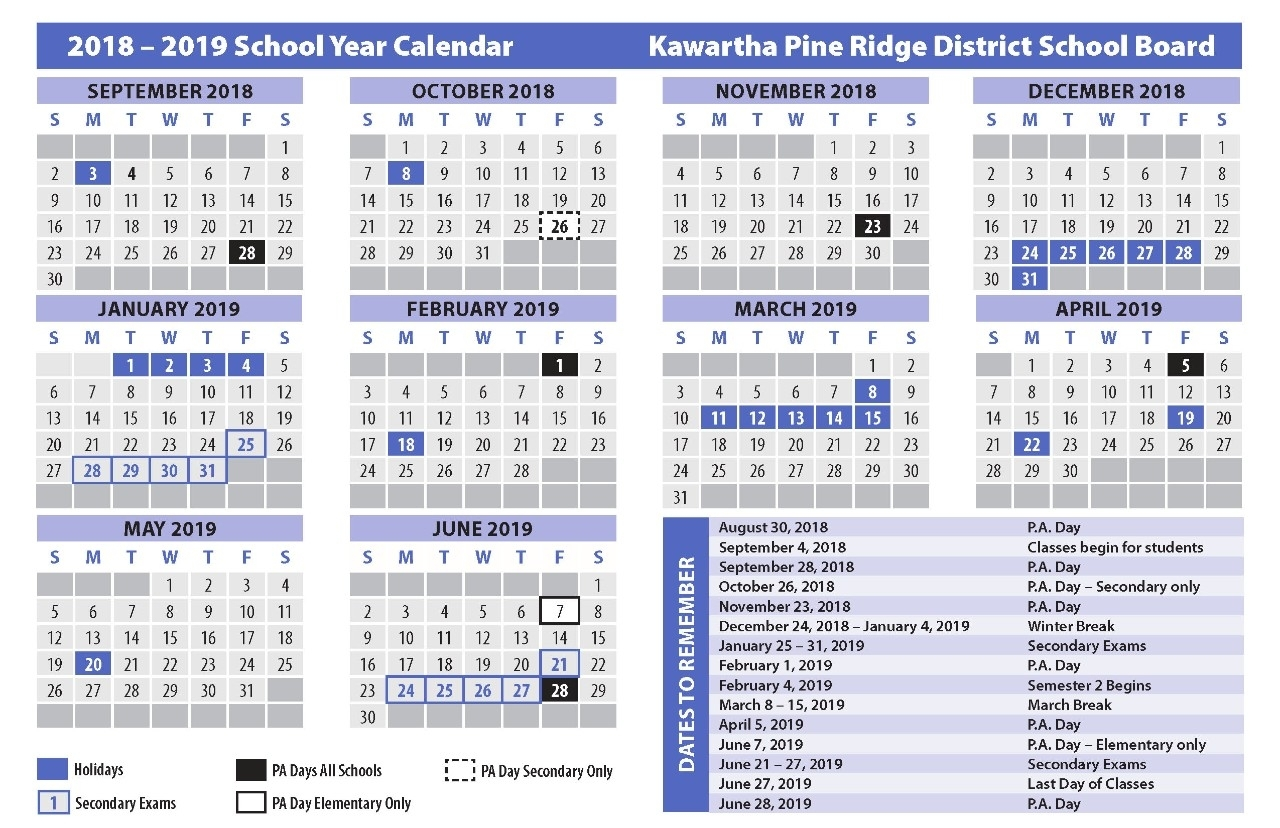 School Calendars throughout Special Days In The School Year 2019-2020