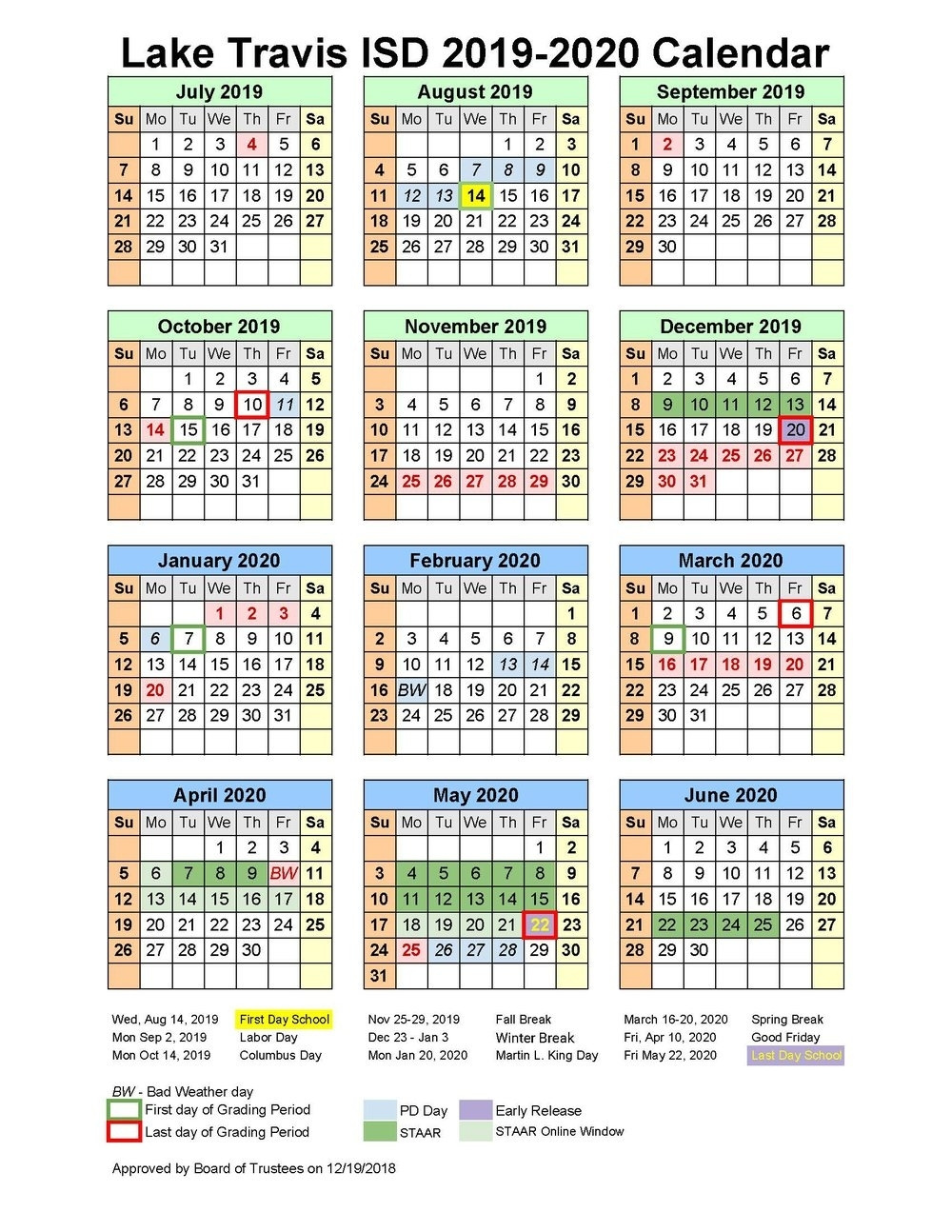 School Matters regarding Stephen F Austin Calendar 2019 - 2020