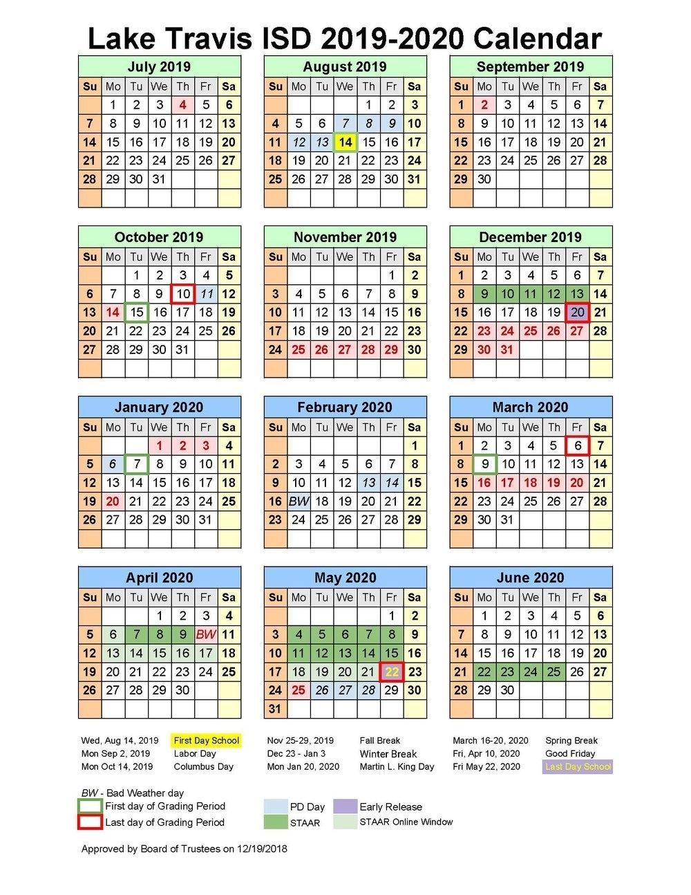 School Matters with Stephen F Austin 2019 2020 Calendar