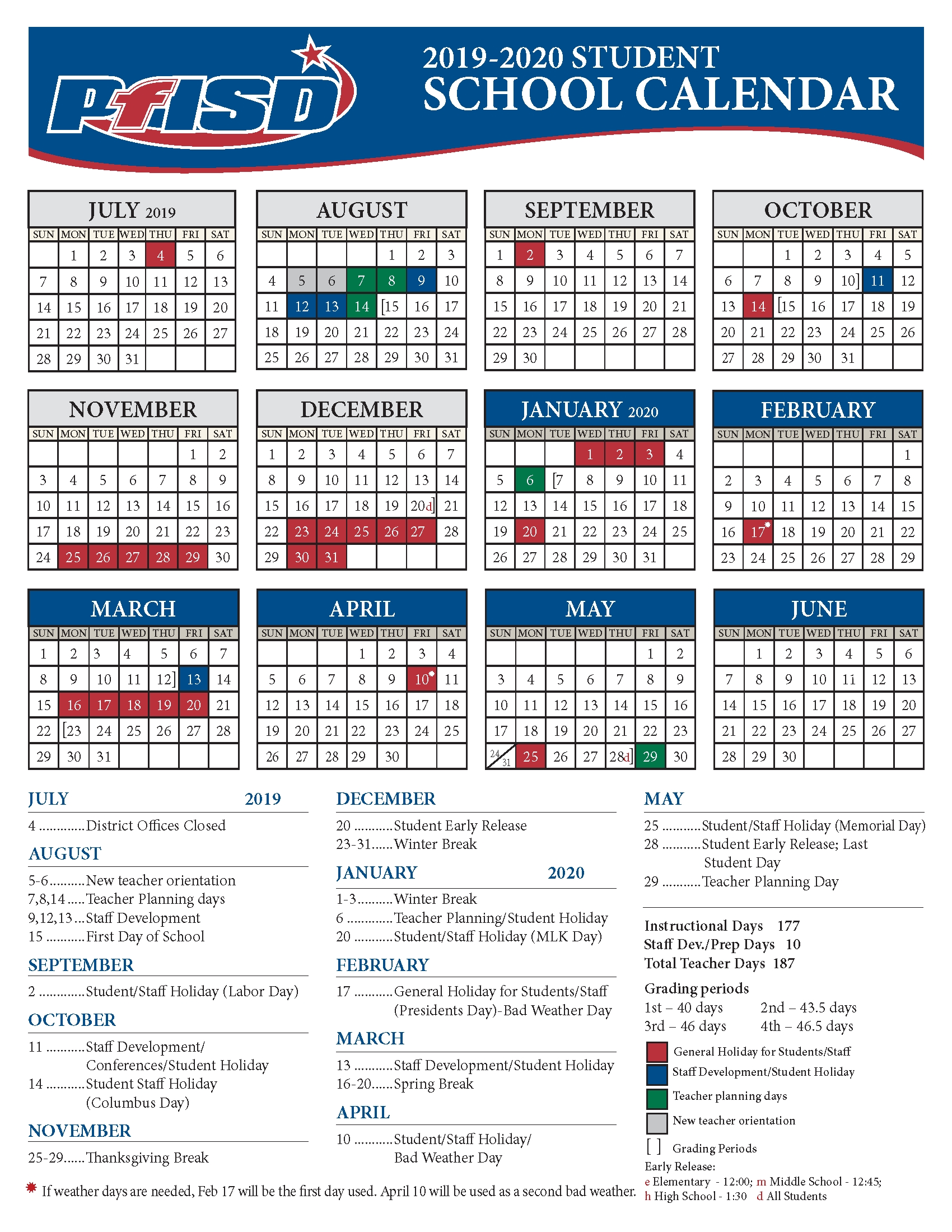 School Year Calendar / 2019-2020 District Calendar intended for Special Days In The School Year 2019-2020