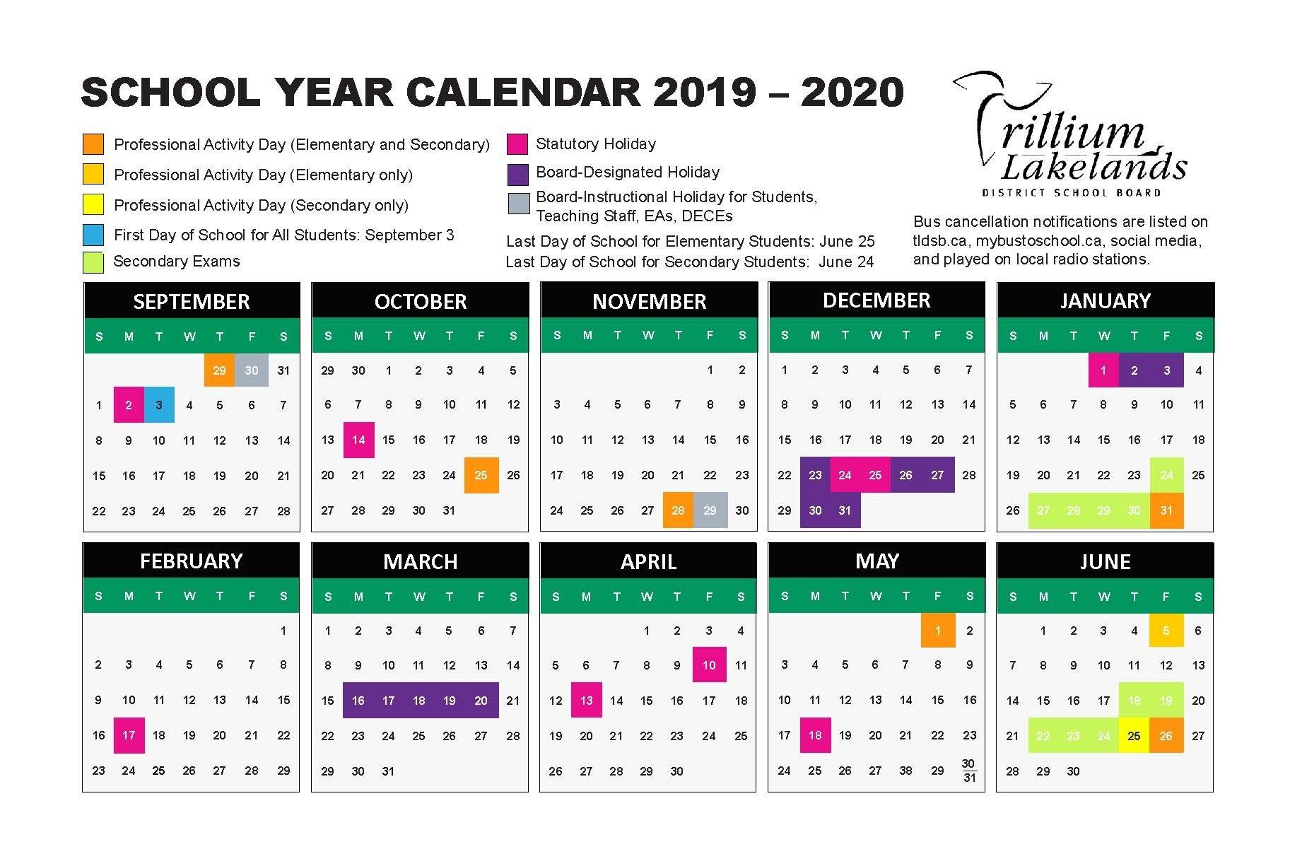 School Year Calendar – Trillium Lakelands District School Board throughout U Of C Calendar 2019/2020