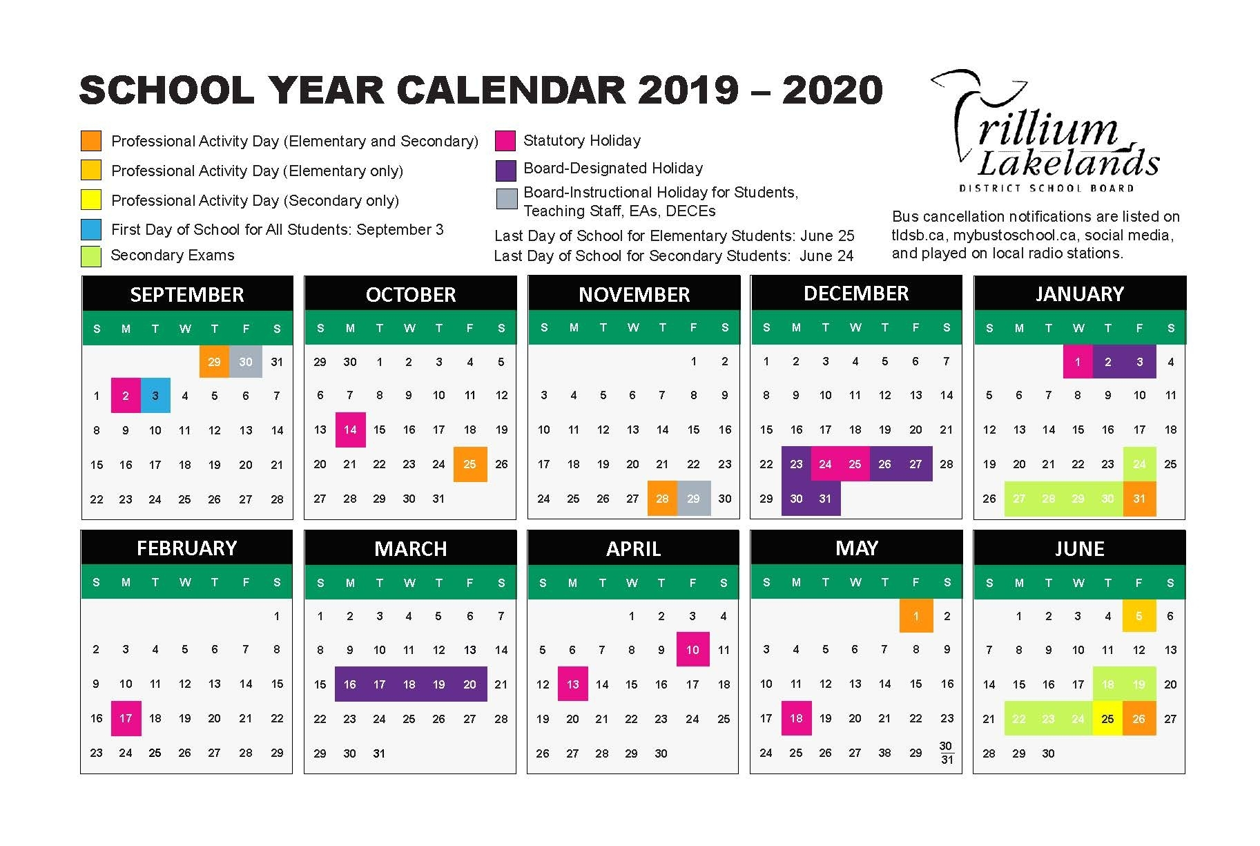 School Year Calendar – Trillium Lakelands District School Board with regard to U Of R Calendar 2019-2020