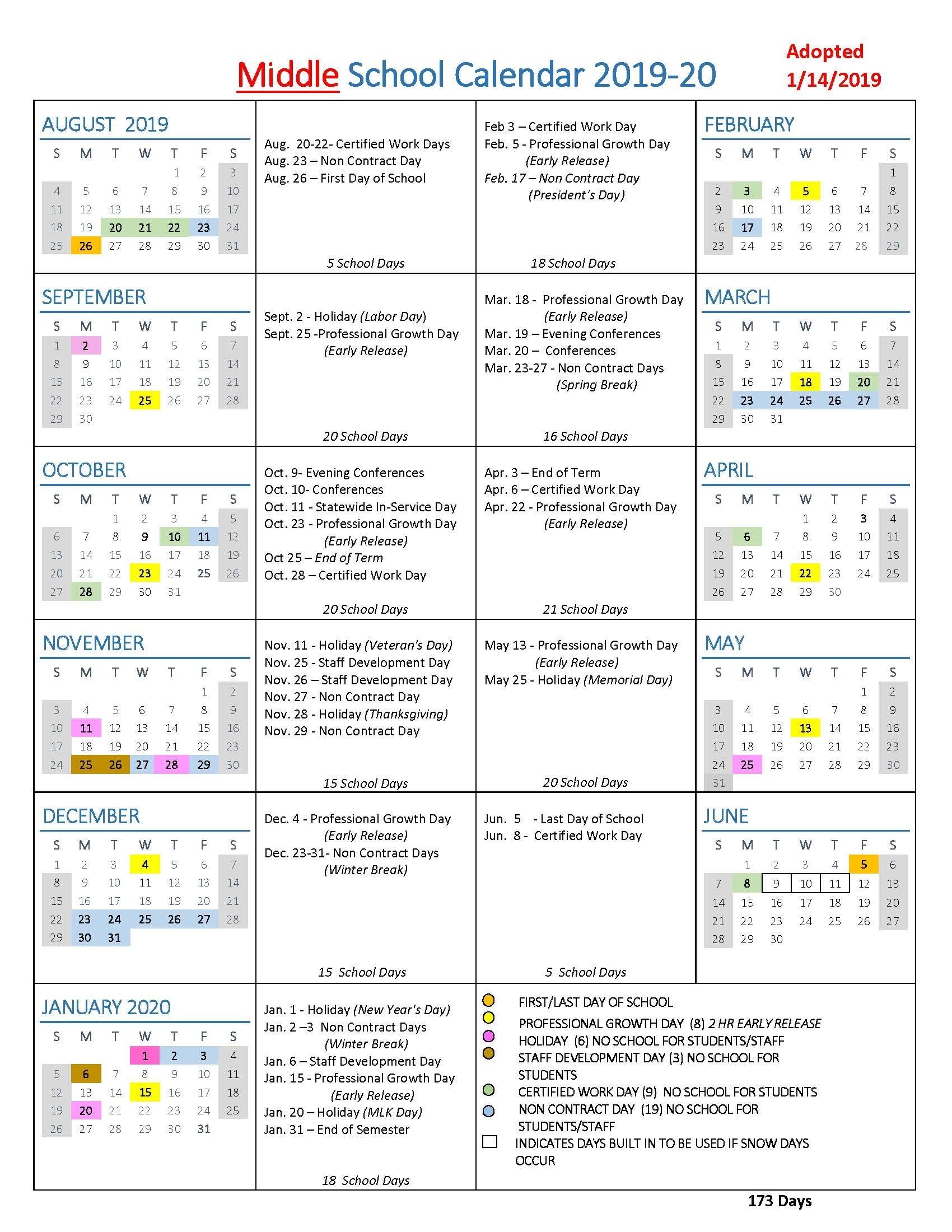 School Year Calendars / Wlwv School Calendars intended for Special Days Calendar 2019-2020