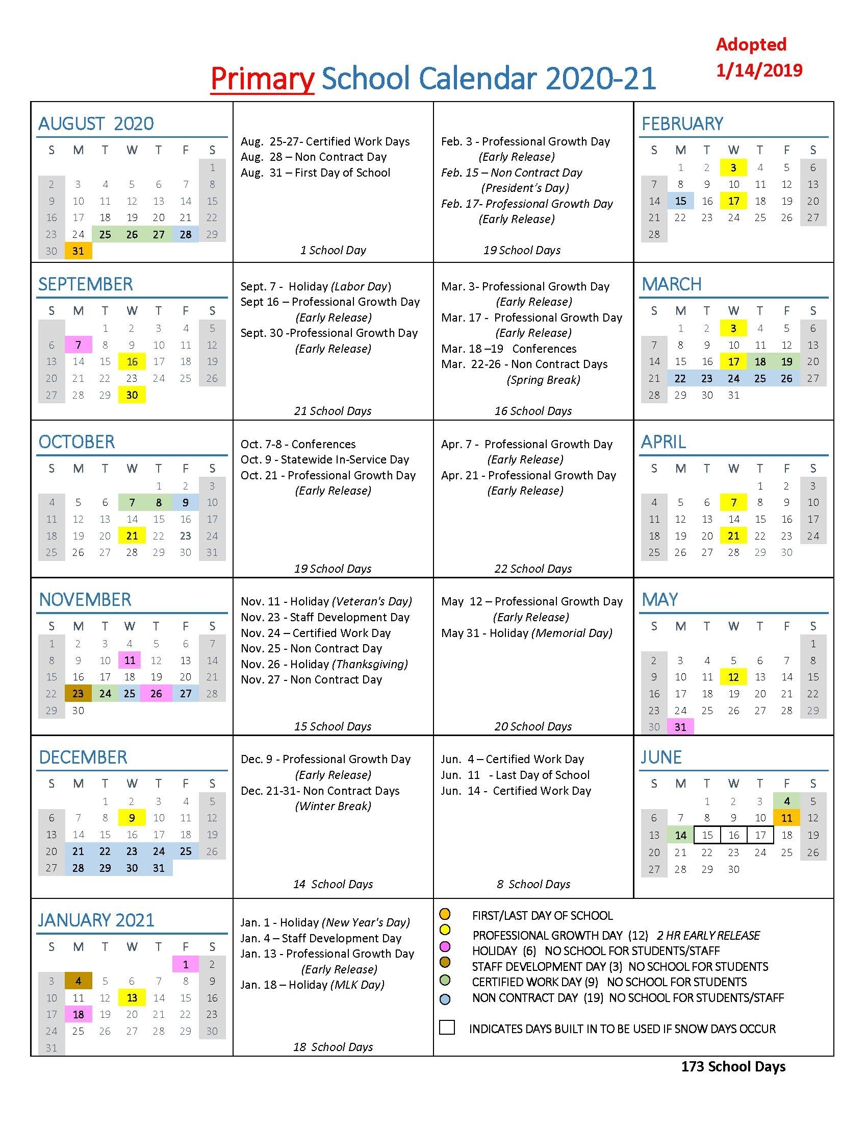 School Year Calendars / Wlwv School Calendars pertaining to Calendar With All The Special Days In 2020