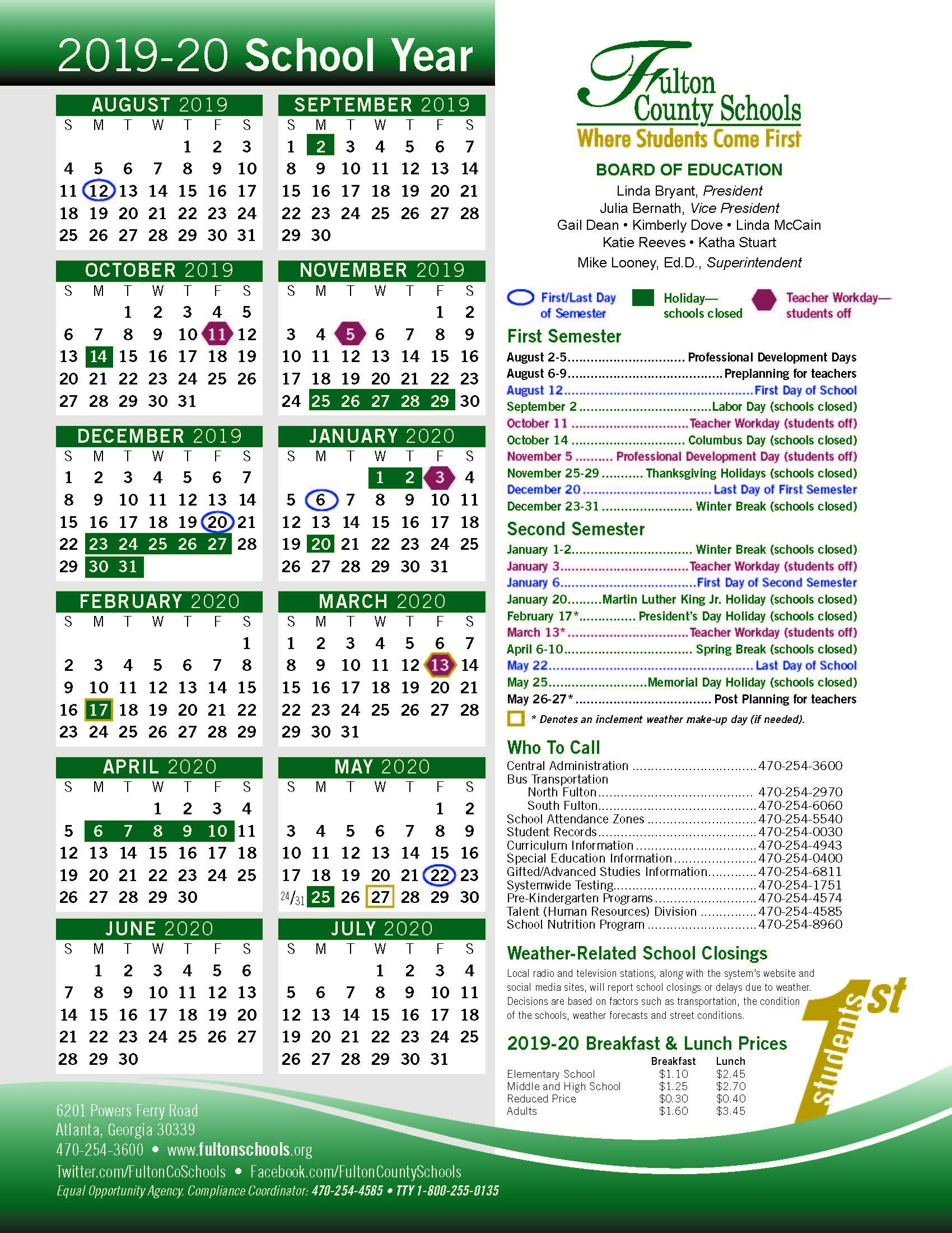 Schools/education - The Aha! Connection throughout Uga 2019-2020 School Calendar