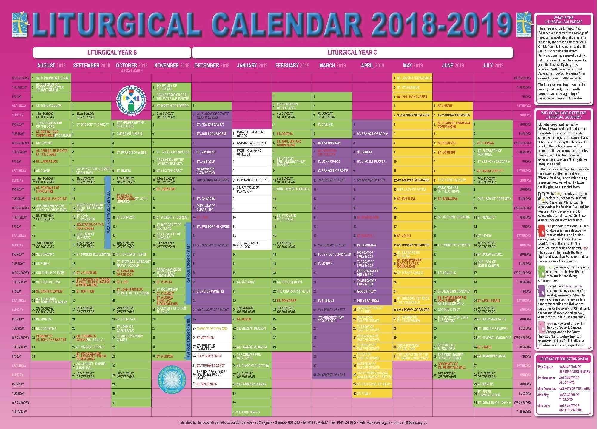 Scottish Catholic Education Service | Sces | Liturgical Calendar intended for Catholic Liturgical Calendar 2020 Pdf