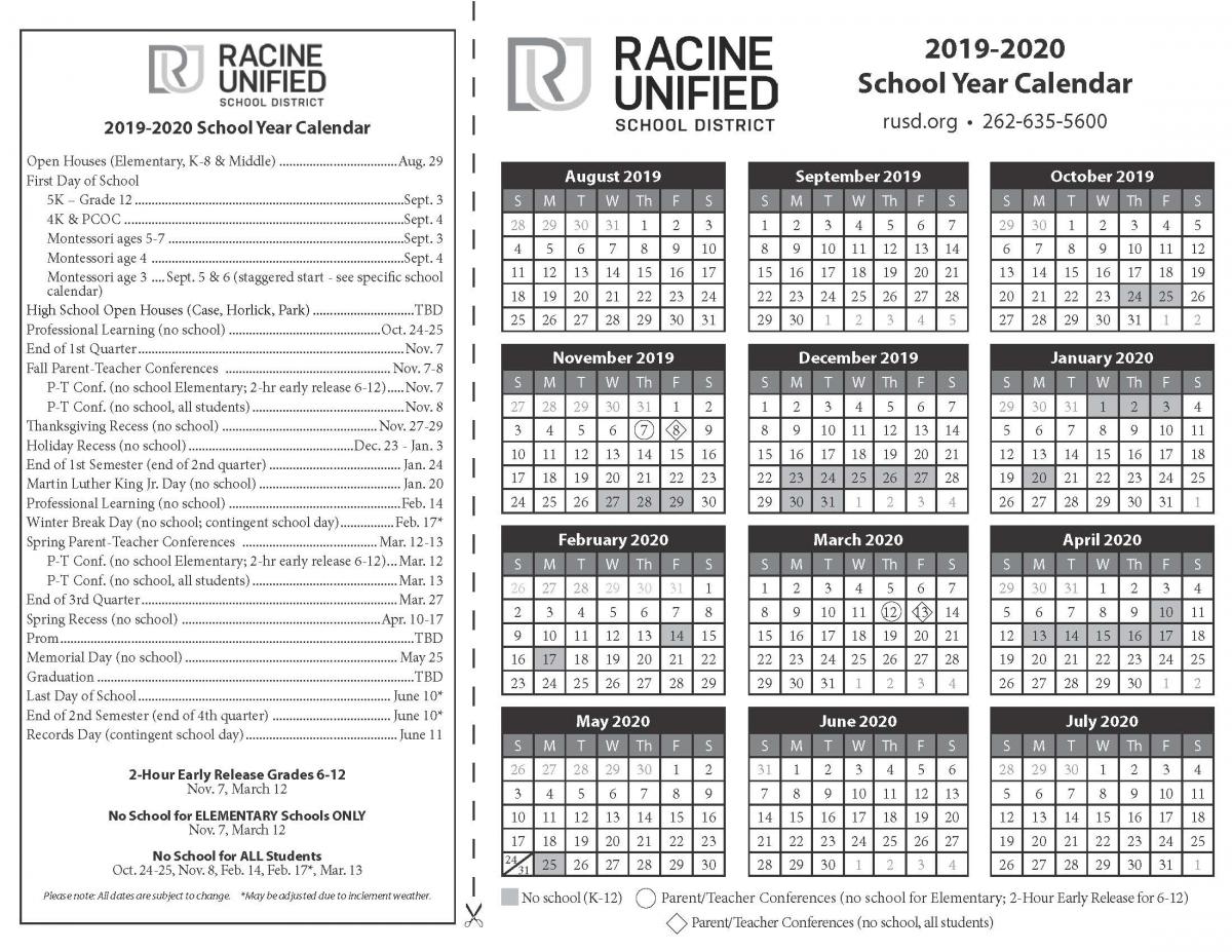 Select A Calendar | Racine Unified School District inside U Of R 2020 Calendar