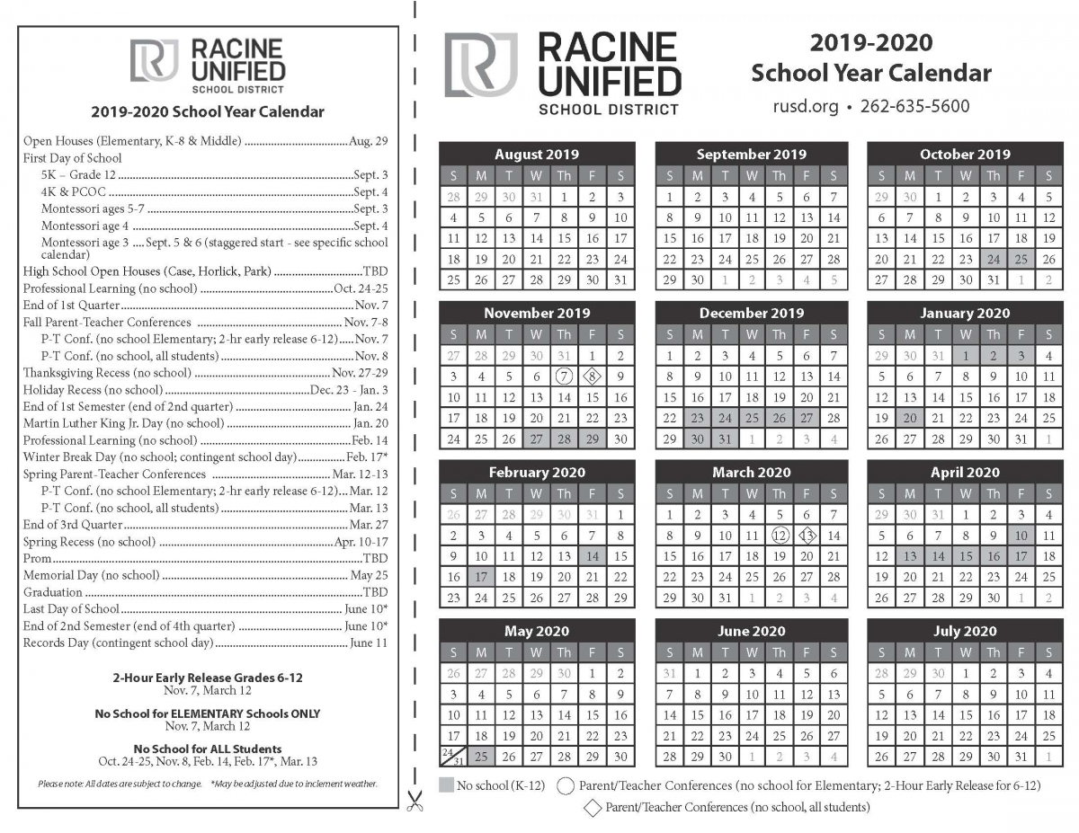 Select A Calendar   Racine Unified School District within Google Calendar Printable 2019 2020