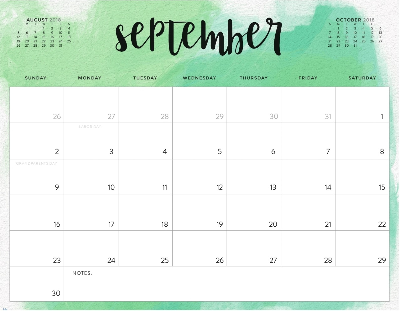 September 2018 Printable Calendar Word Template- September 2018 with regard to Free Printable Calendars 2020 Waterproof