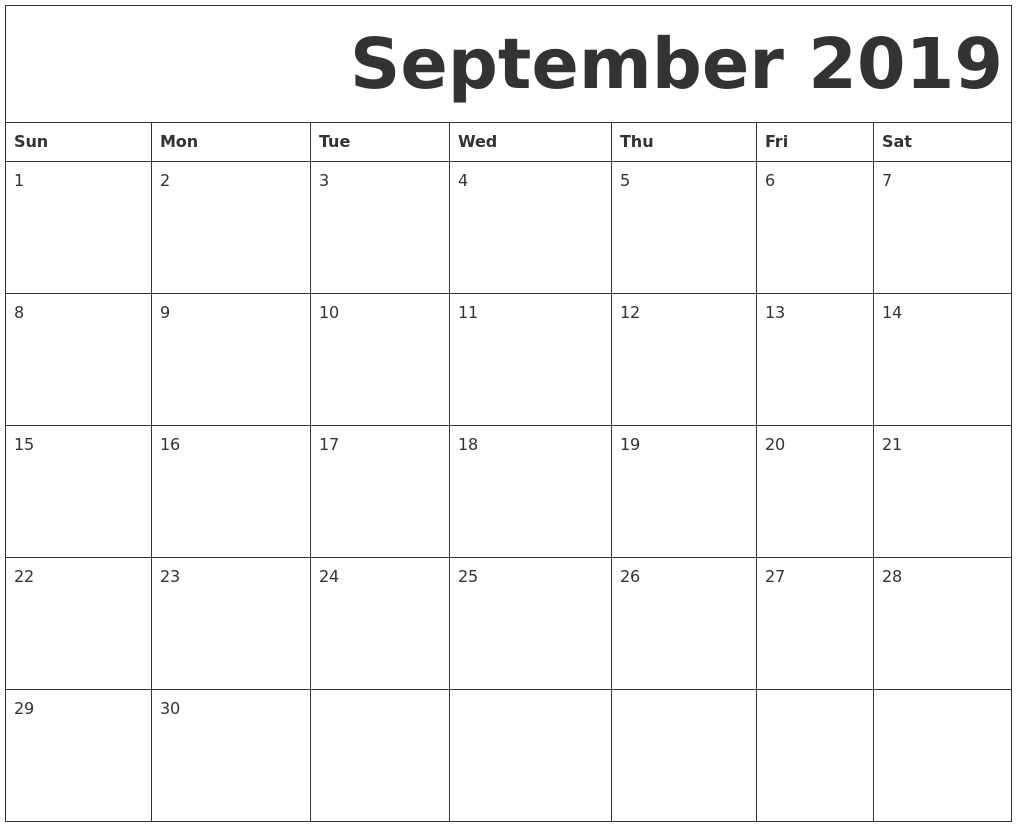 September 2019 Free Printable Calendar in Calender September 2019 To August 2020