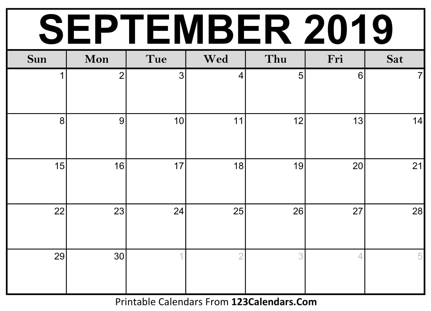 September 2019 Printable Calendar | 123Calendars pertaining to Printable Calendar By Month You Can Schedule In
