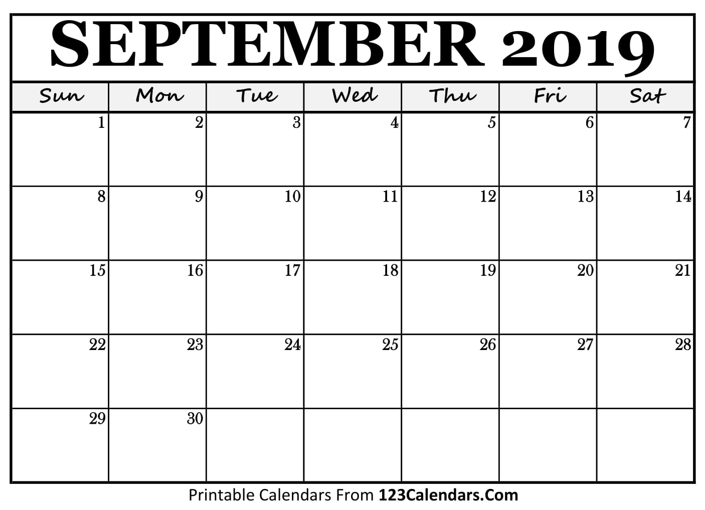 September 2019 Printable Calendar | 123Calendars regarding Calender September 2019 To August 2020