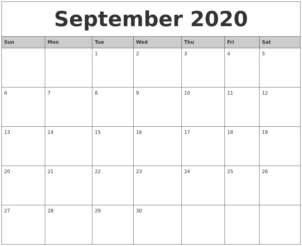 September 2020 Monthly Calendar Printable pertaining to Writing Calendar For 2020